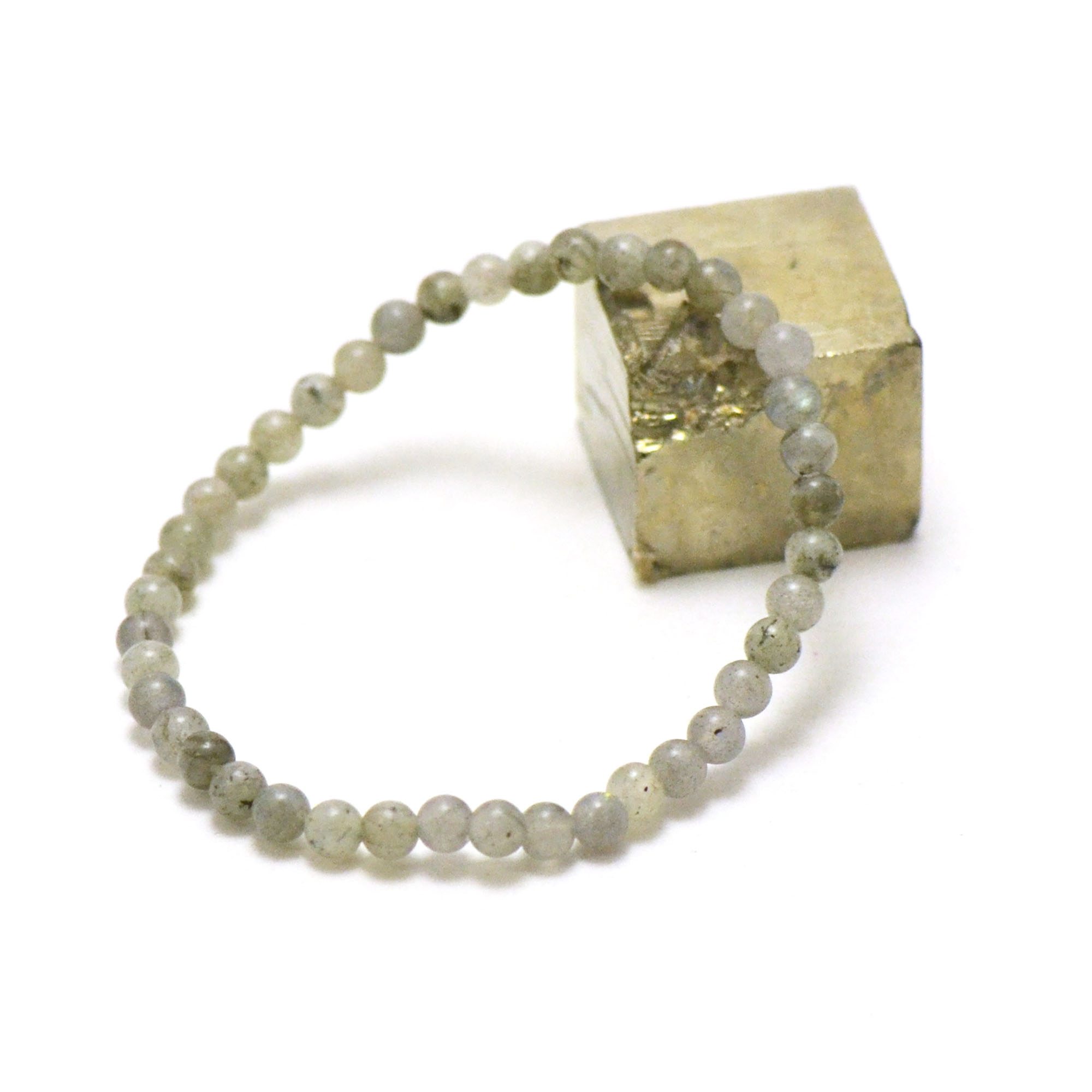 bracelet labradorite, perle ronde 4 mm AB