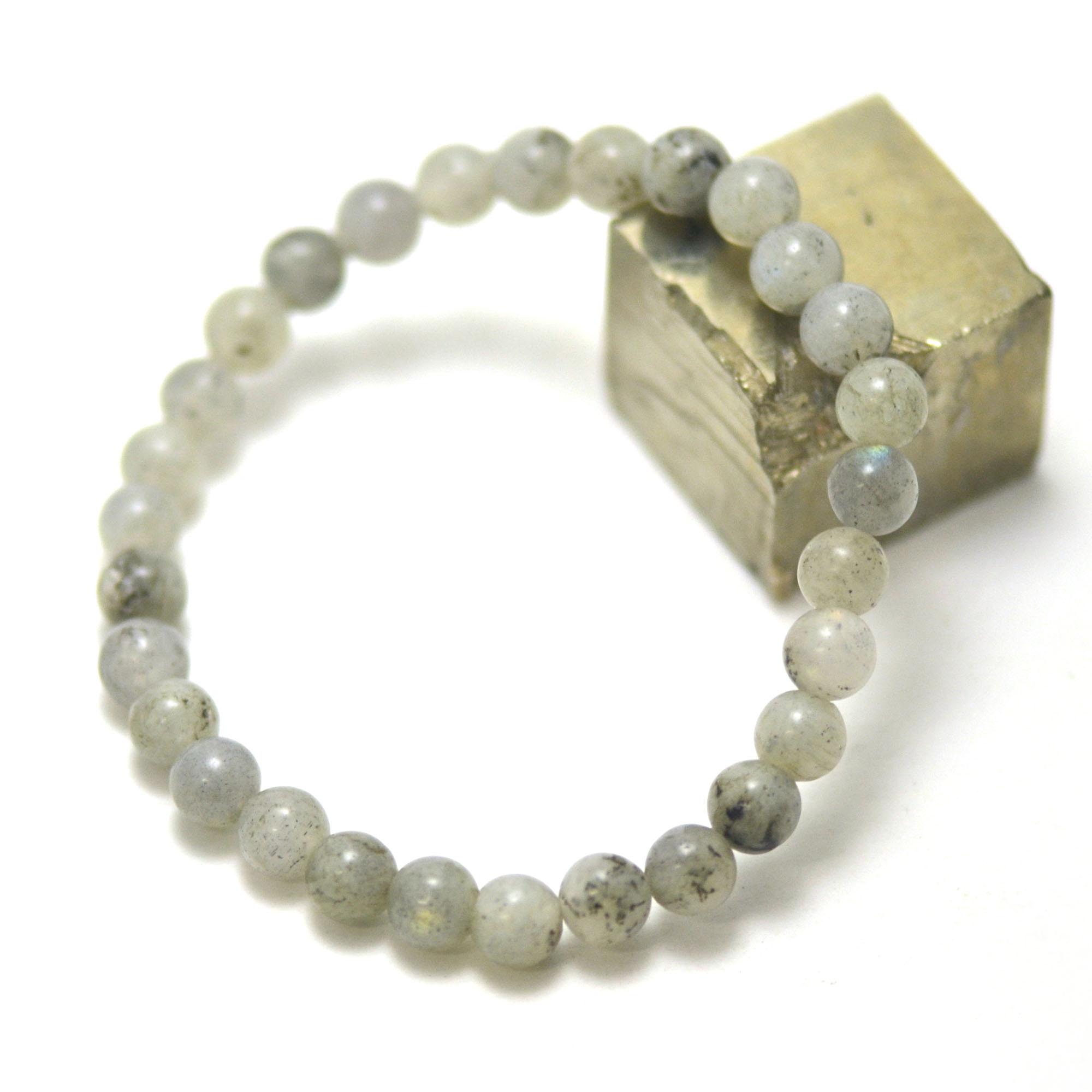 bracelet labradorite, perle ronde 6 mm AB