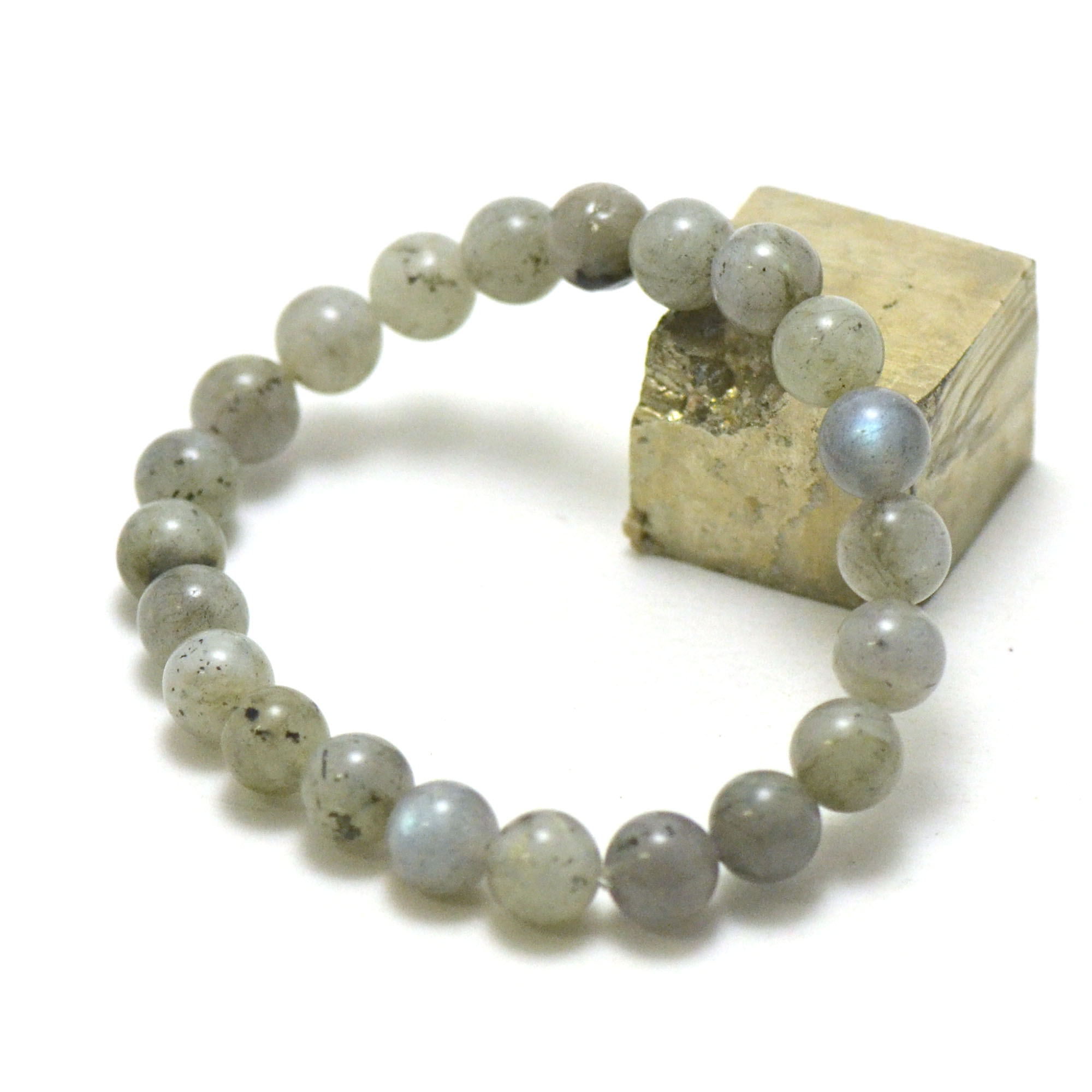 bracelet labradorite, perle ronde 8 mm AB