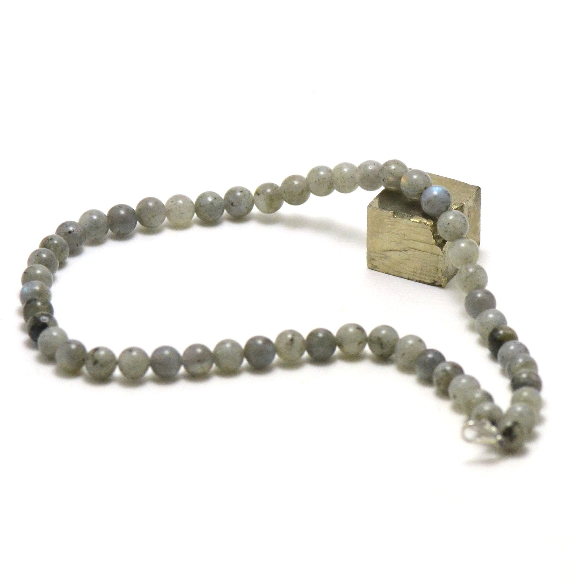 collier labradorite, perle ronde 6 mm AB