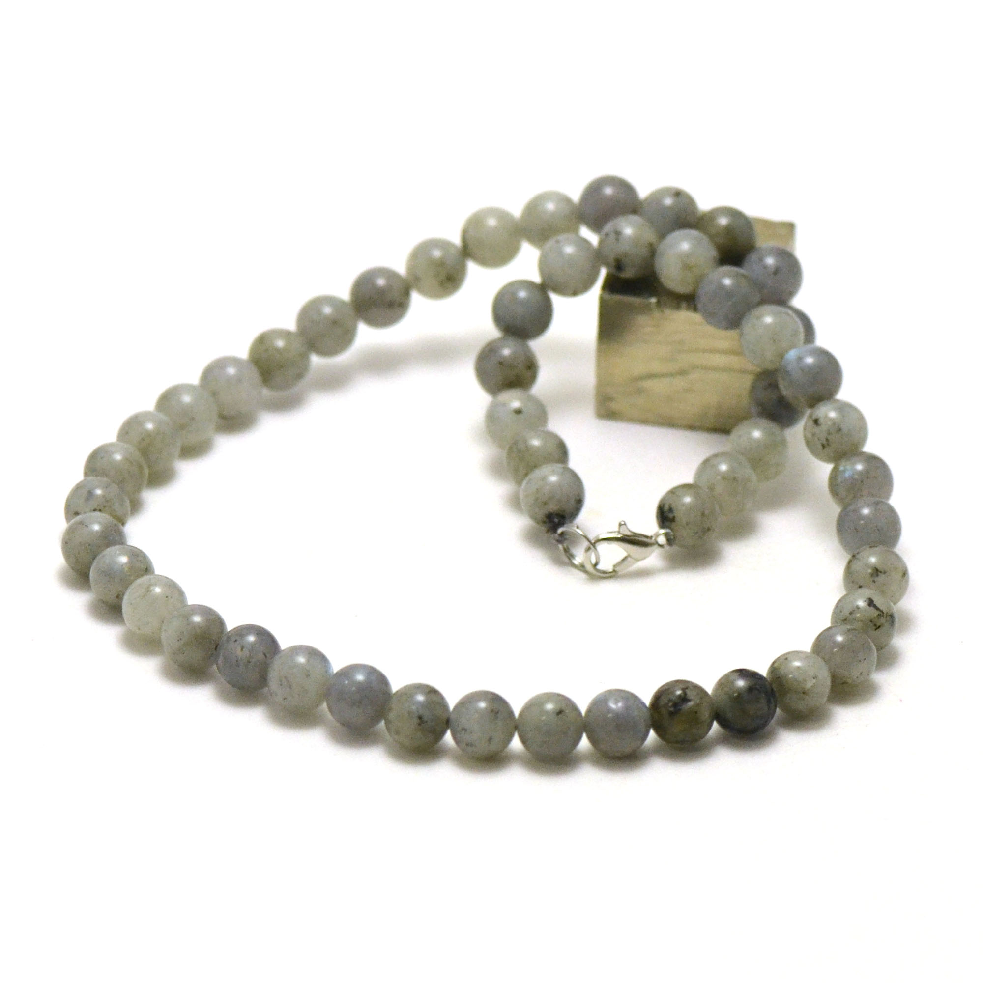 collier labradorite, perle ronde 8 mm AB