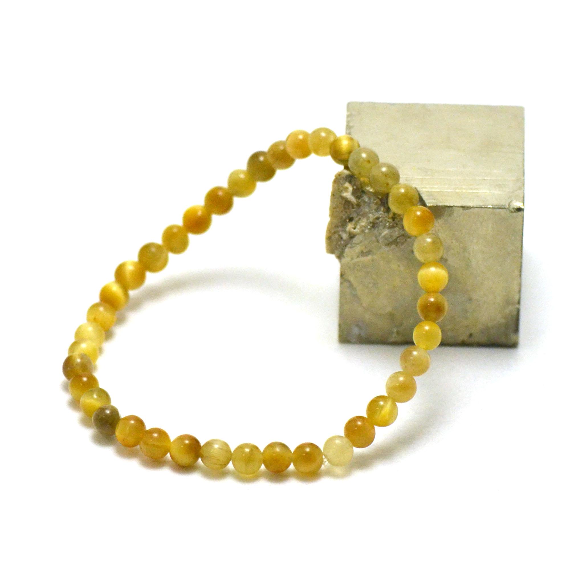 bracelet oeil de tigre doré, perle ronde 4 mm