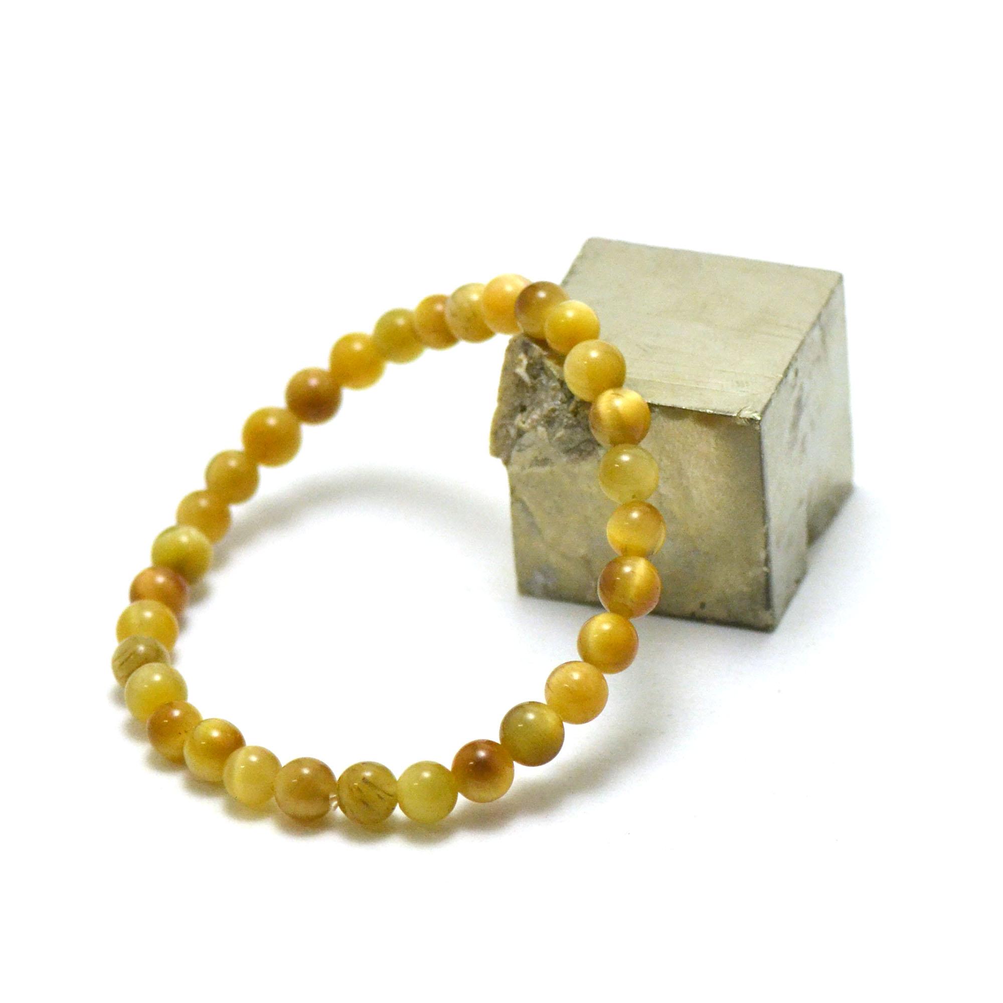 bracelet oeil de tigre doré, perle ronde 6 mm