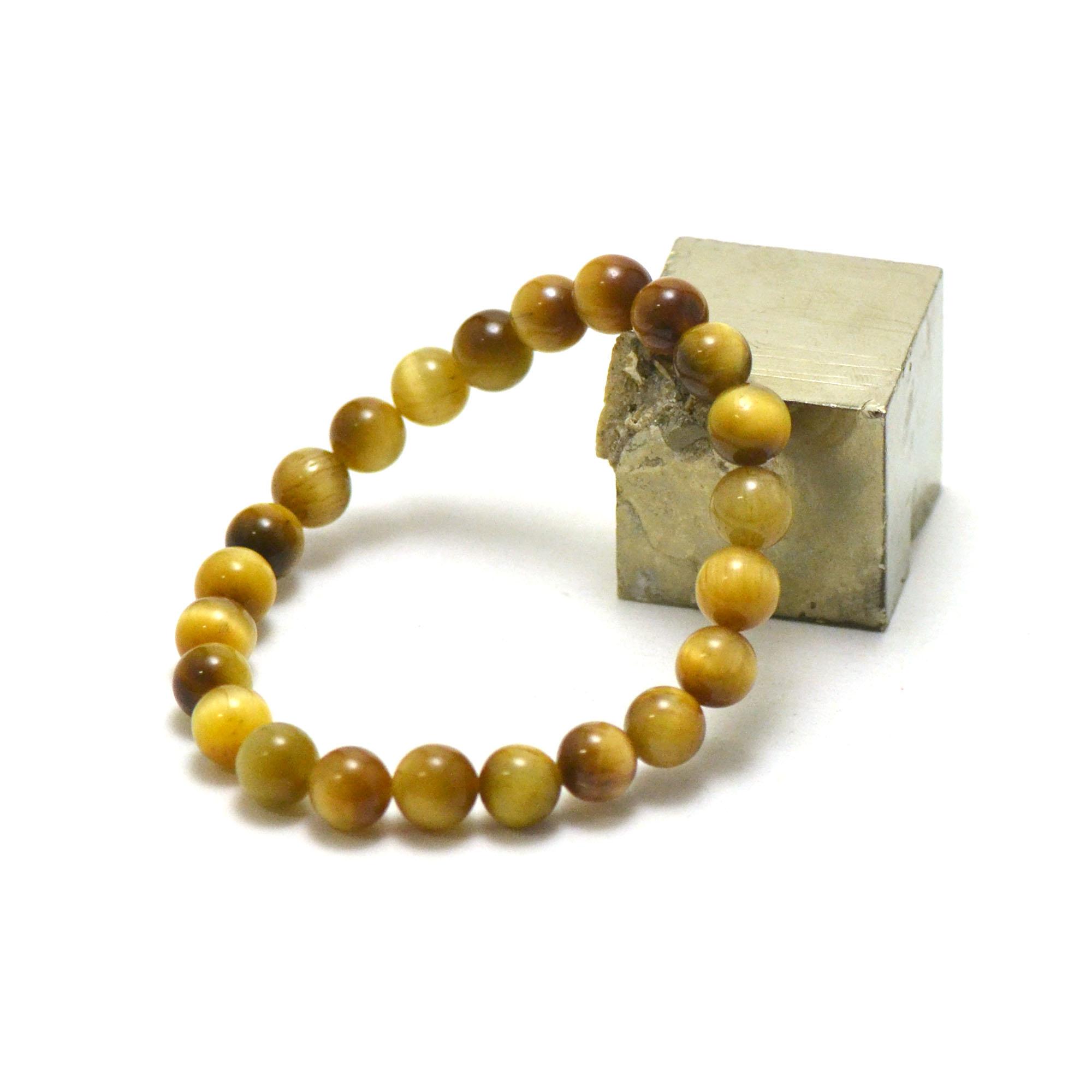 bracelet oeil de tigre doré, perle ronde 8 mm