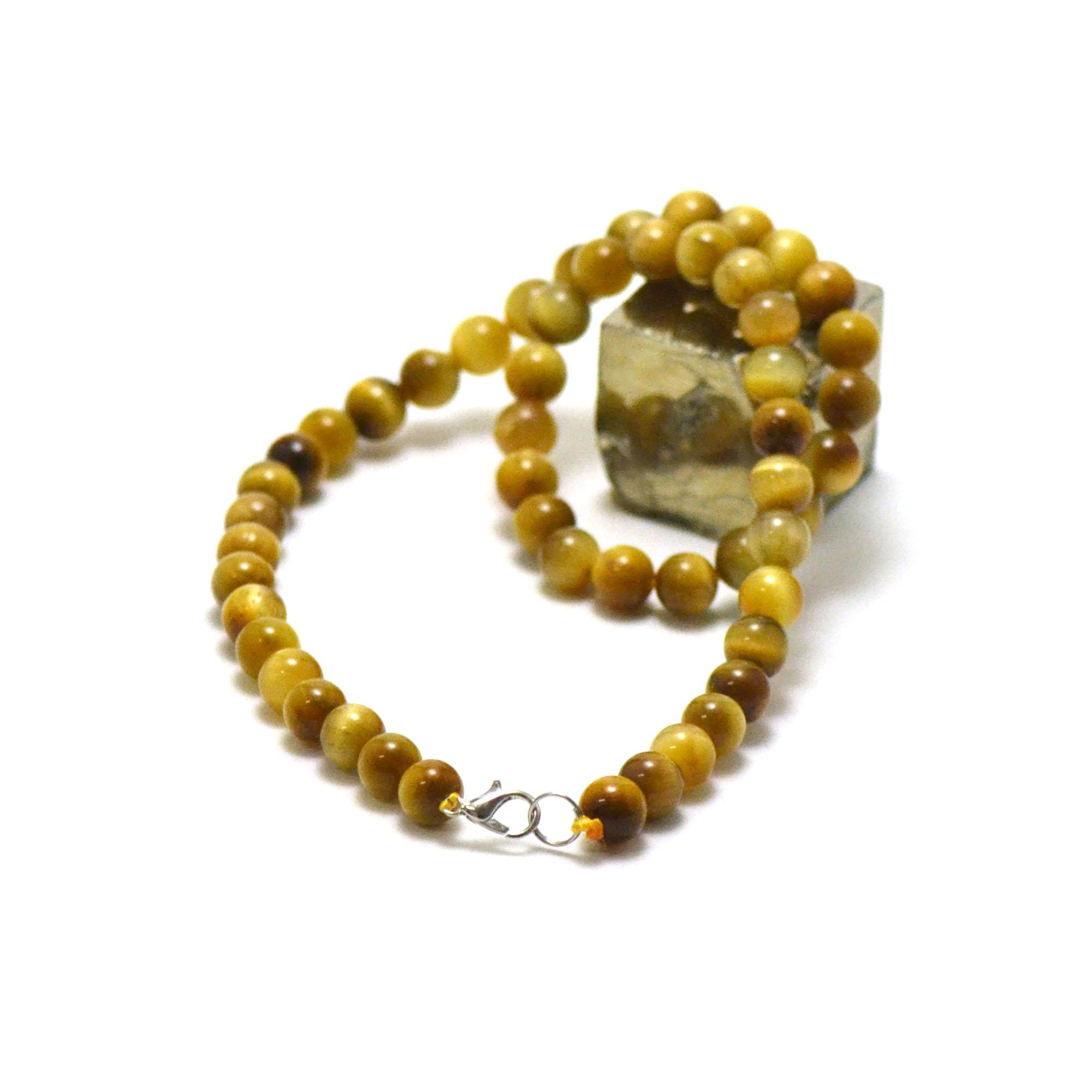 collier oeil de tigre doré, perle ronde 8 mm