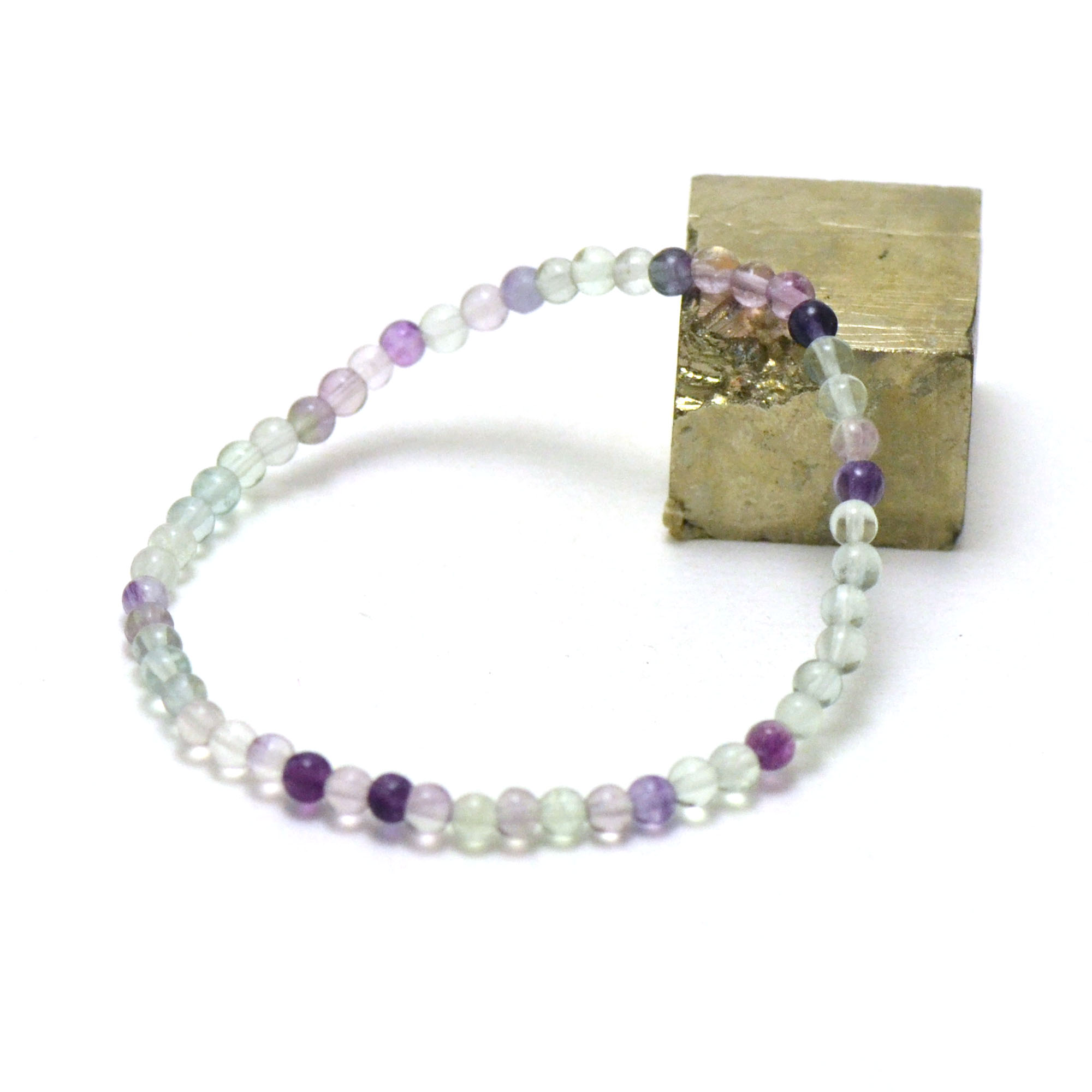 bracelet fluorite, perle ronde 4 mm