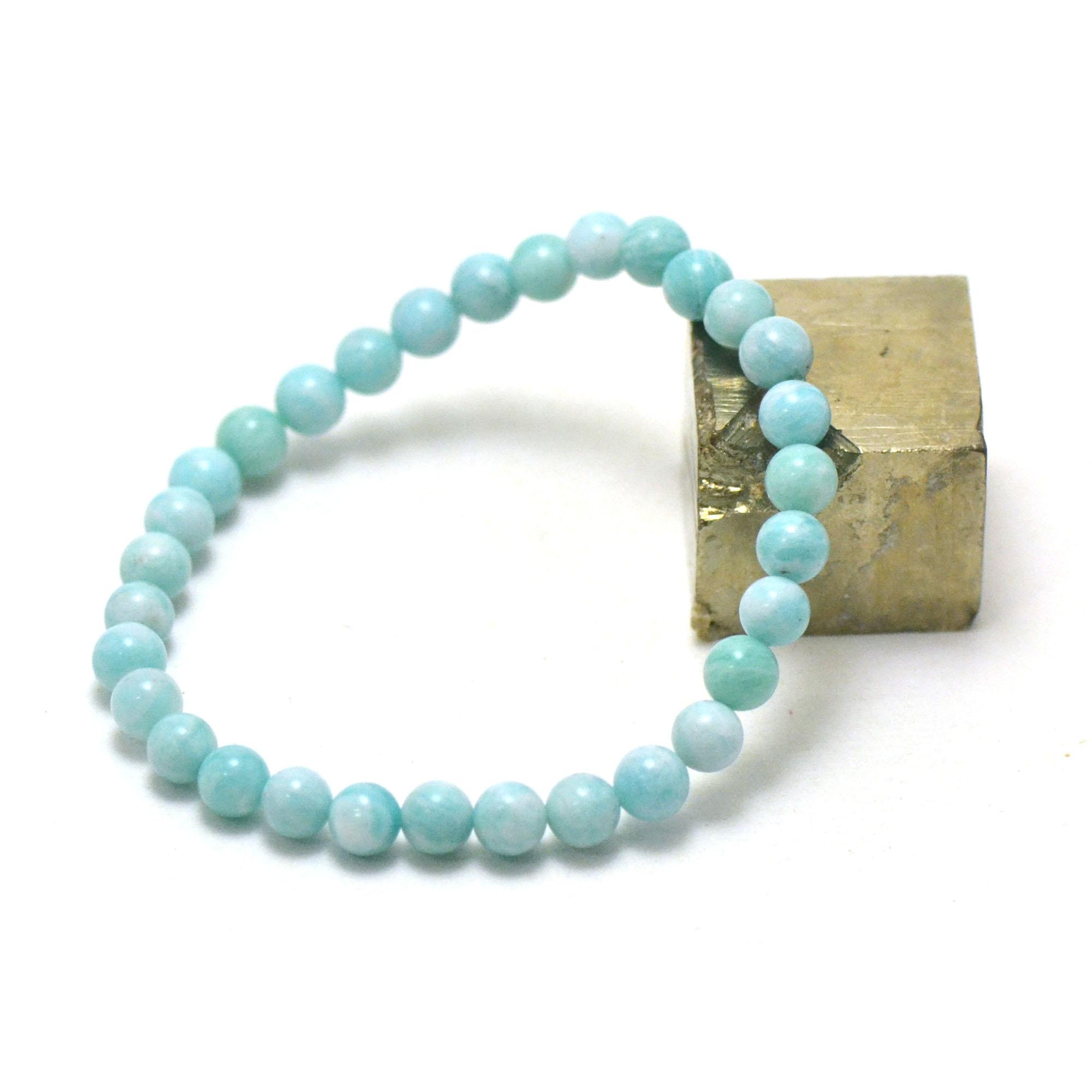 Bracelet amazonite , perle ronde 6 mm AA