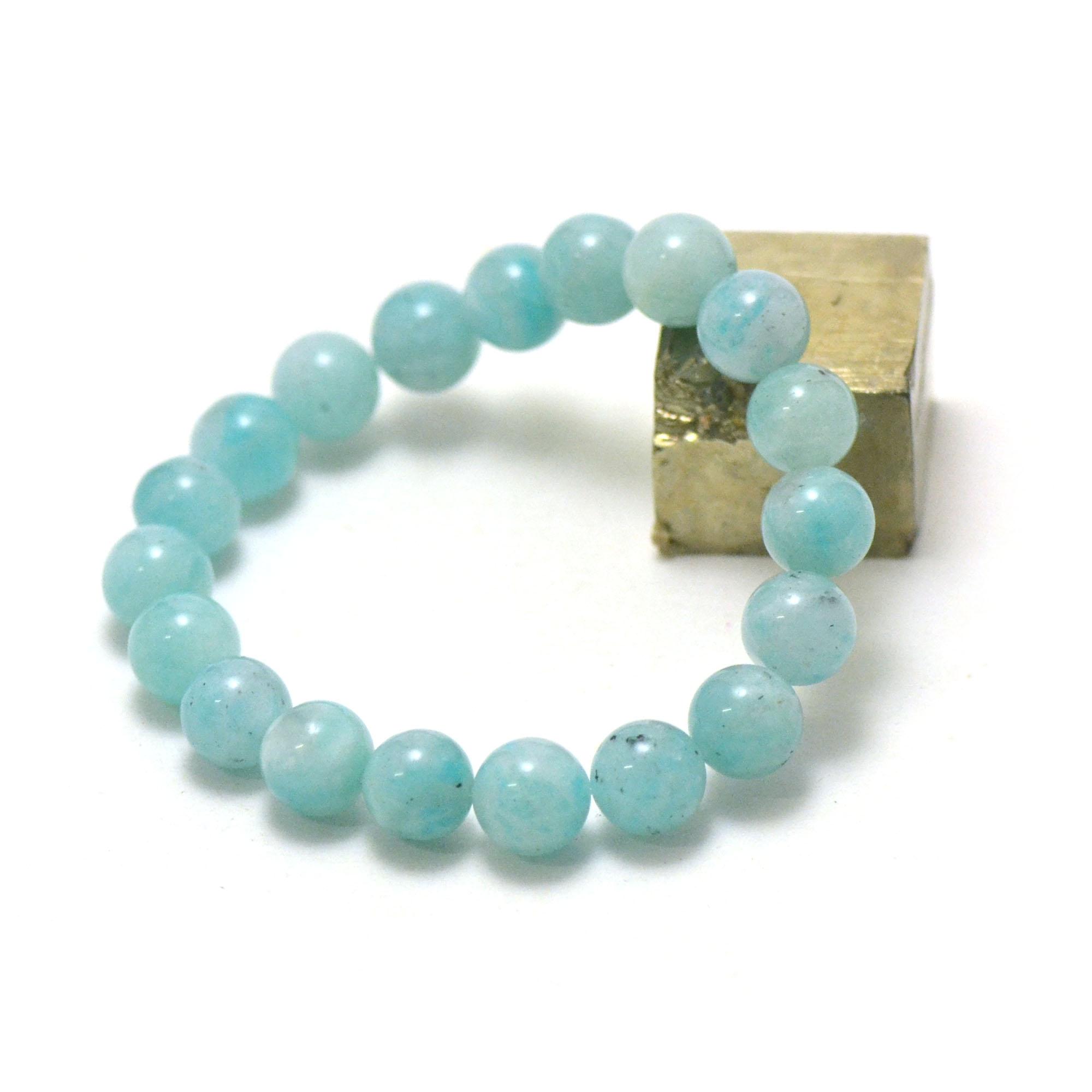 Bracelet amazonite , perle ronde 10 mm AA