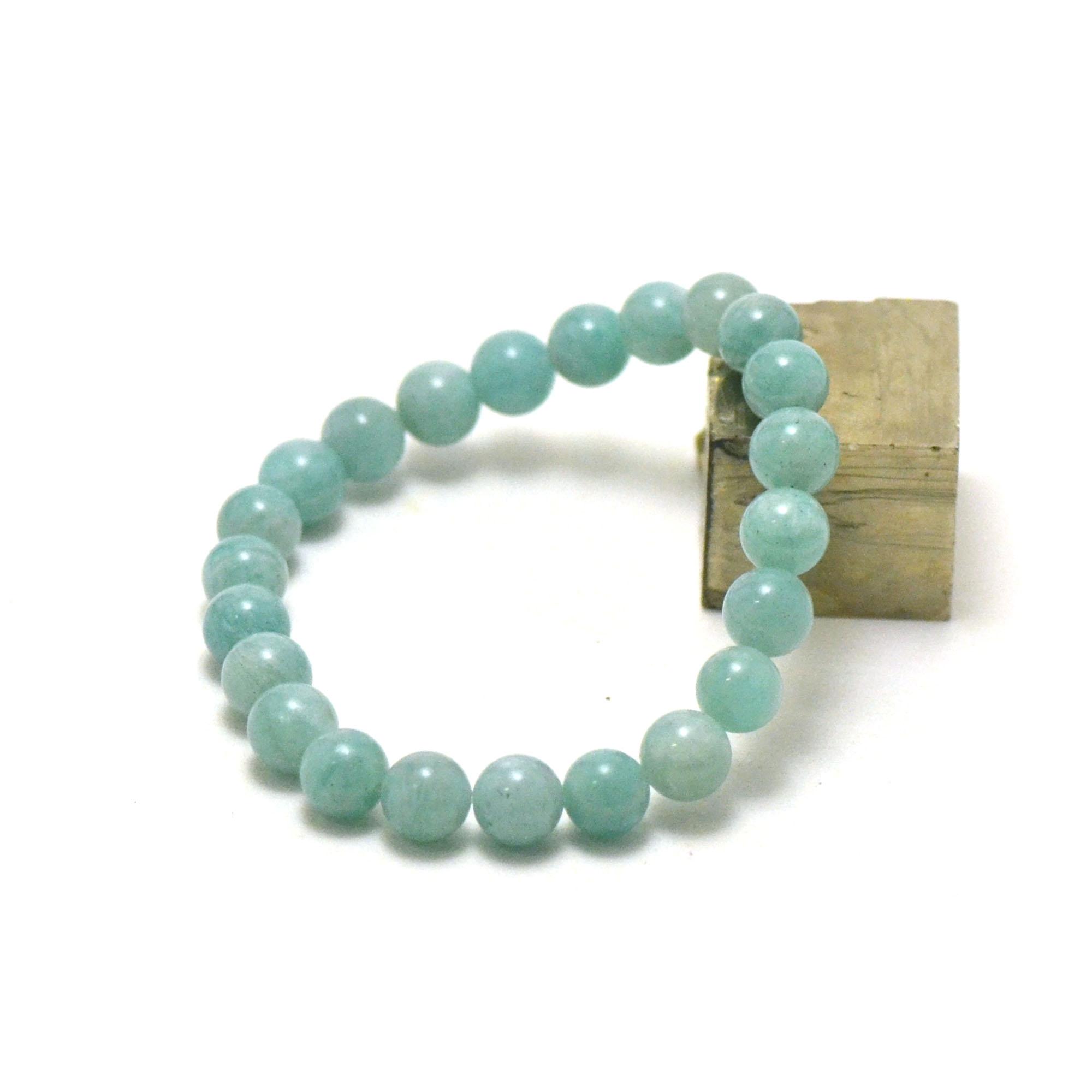 Bracelet amazonite , perle ronde 8 mm AA