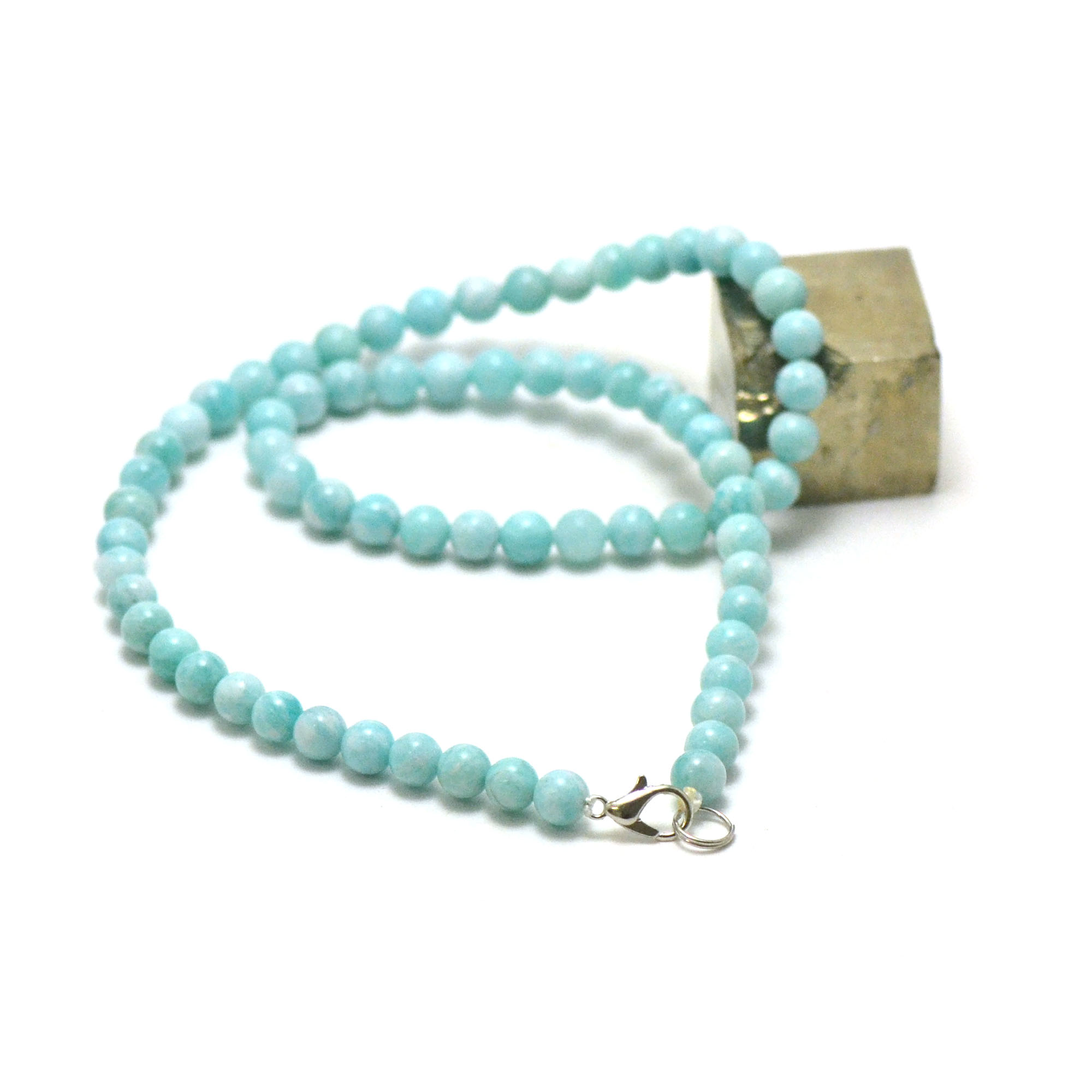 collier amazonite , perle ronde 6 mm AA