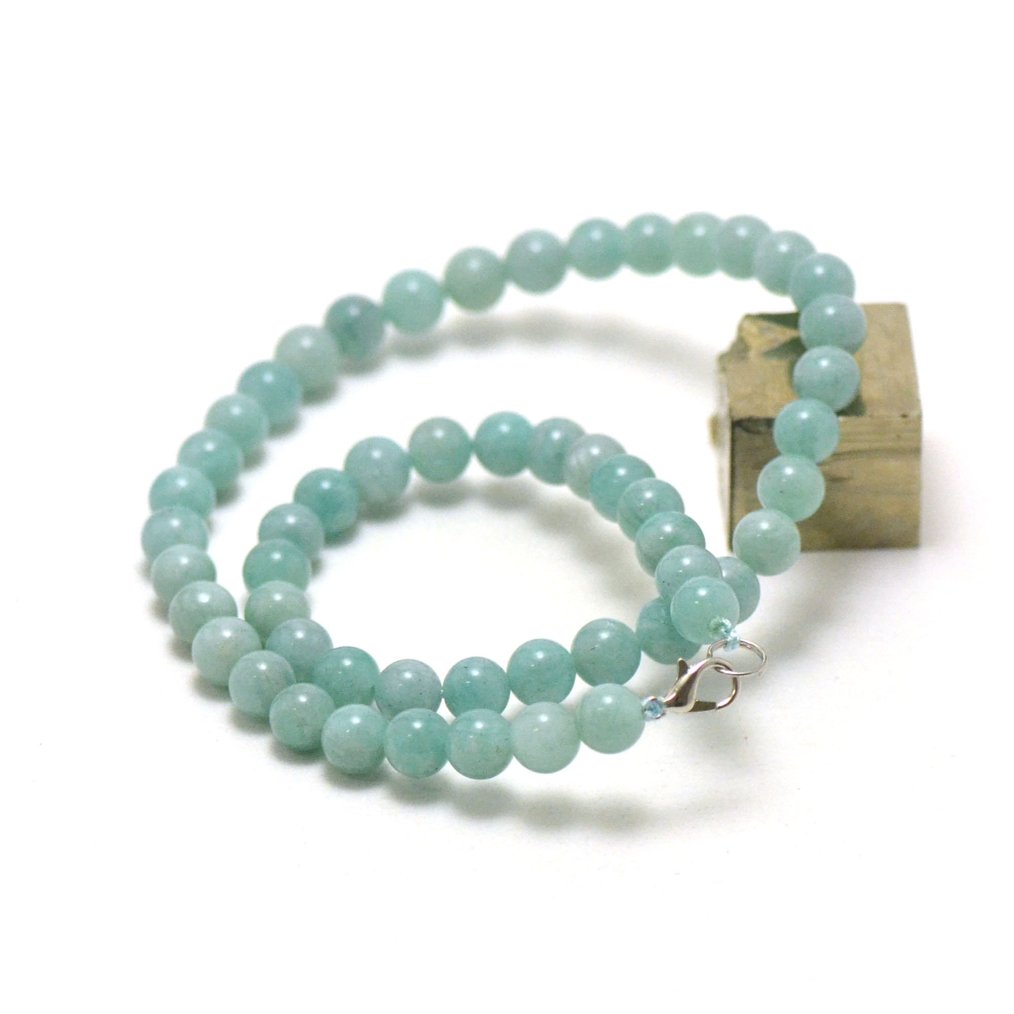 collier amazonite, perle ronde 8 mm AA