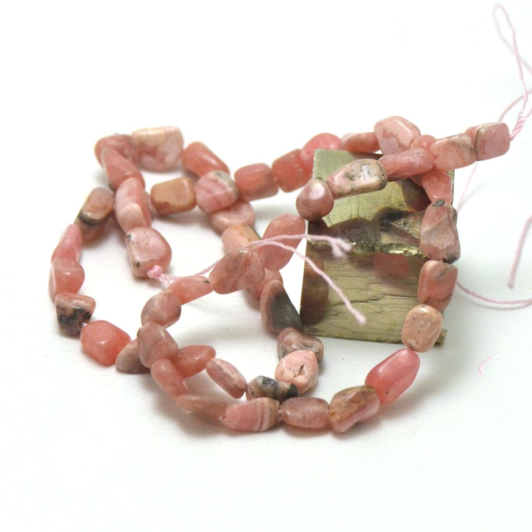 fil de 39 cm de rhodochrosite pierre roulée, pierre naturelle