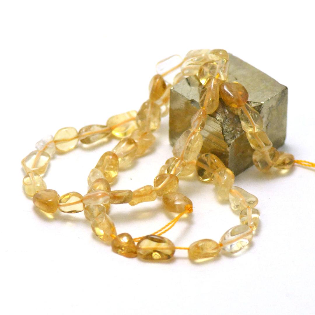 fil de 39 cm de citrine pierre roulée, pierre naturelle