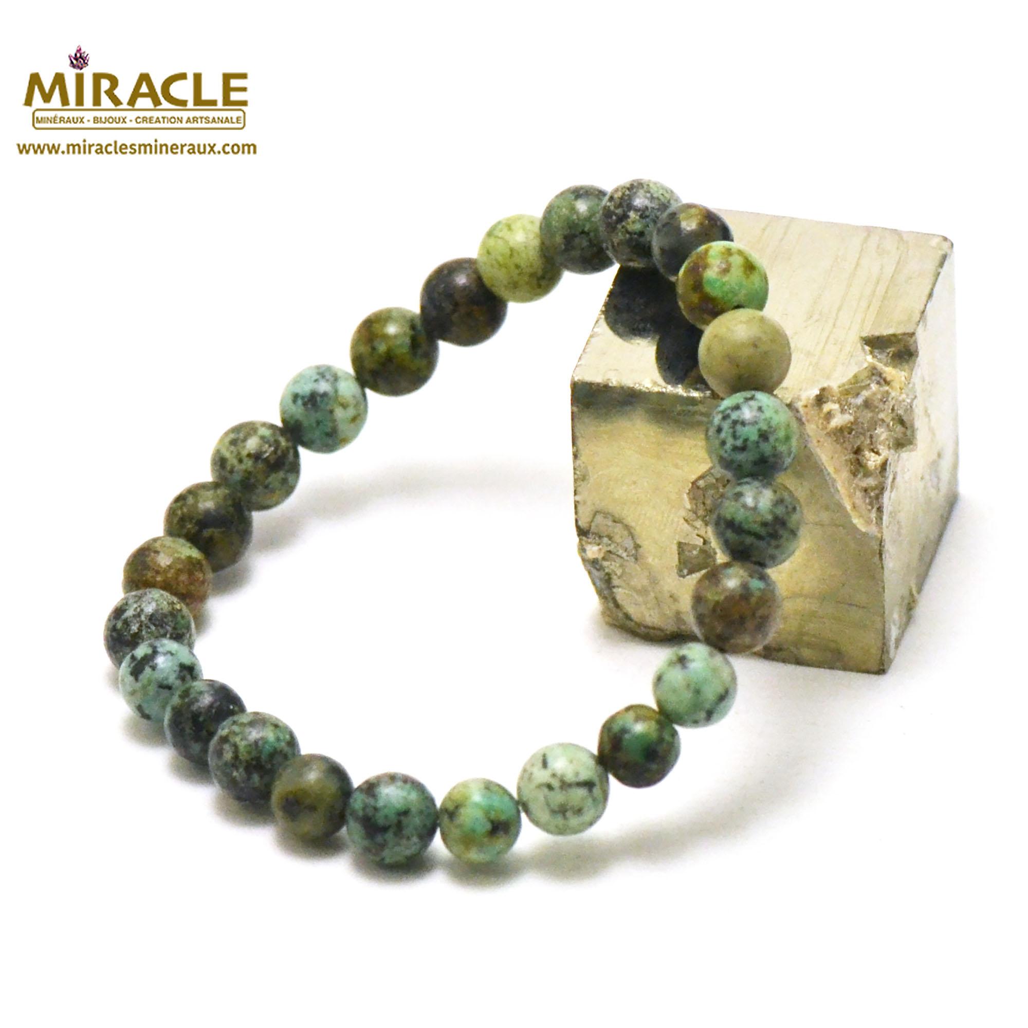 bracelet turquoise d\'afrique perle ronde 8 mm