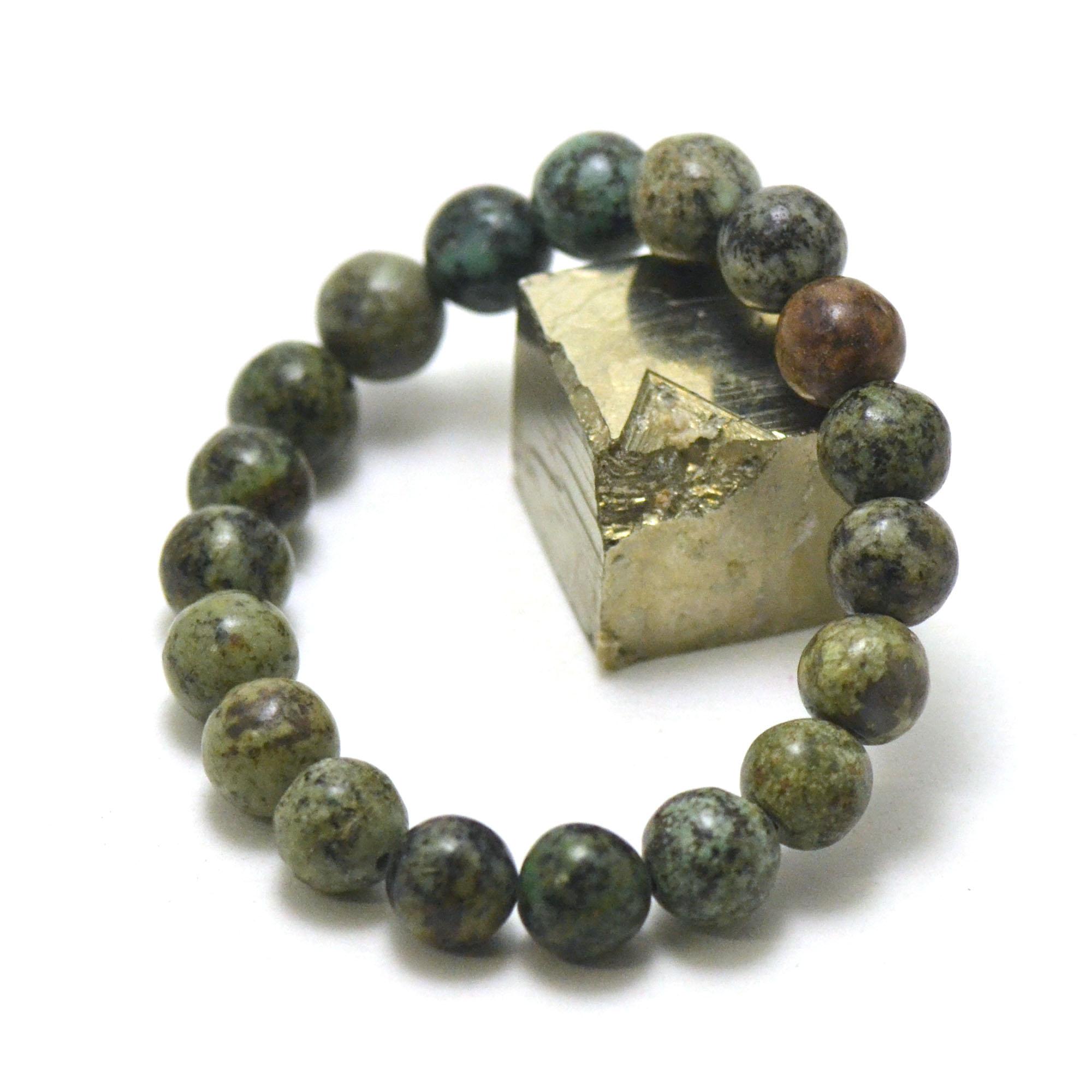 bracelet turquoise d\'afrique perle ronde 10 mm