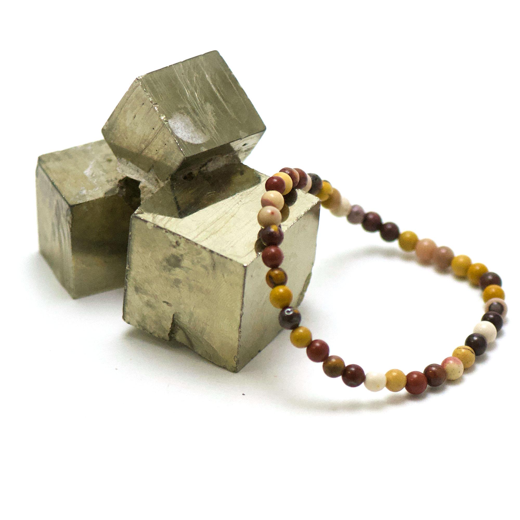 bracelet jaspe Mokaïte, perle ronde 4 mm