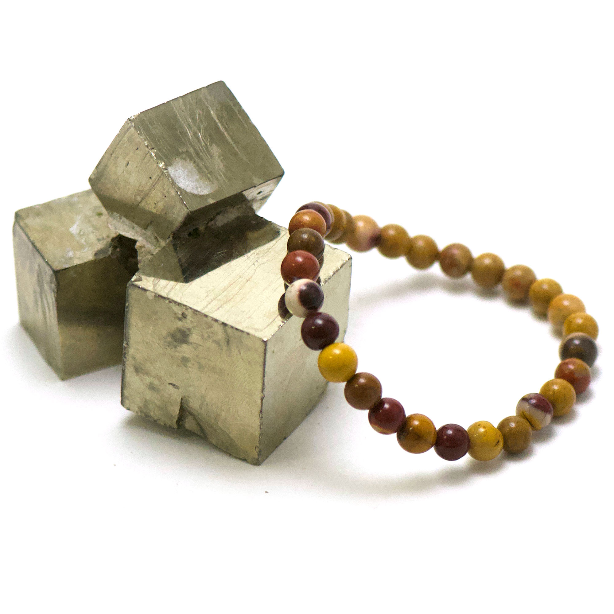 bracelet jaspe Mokaïte, perle ronde 6 mm