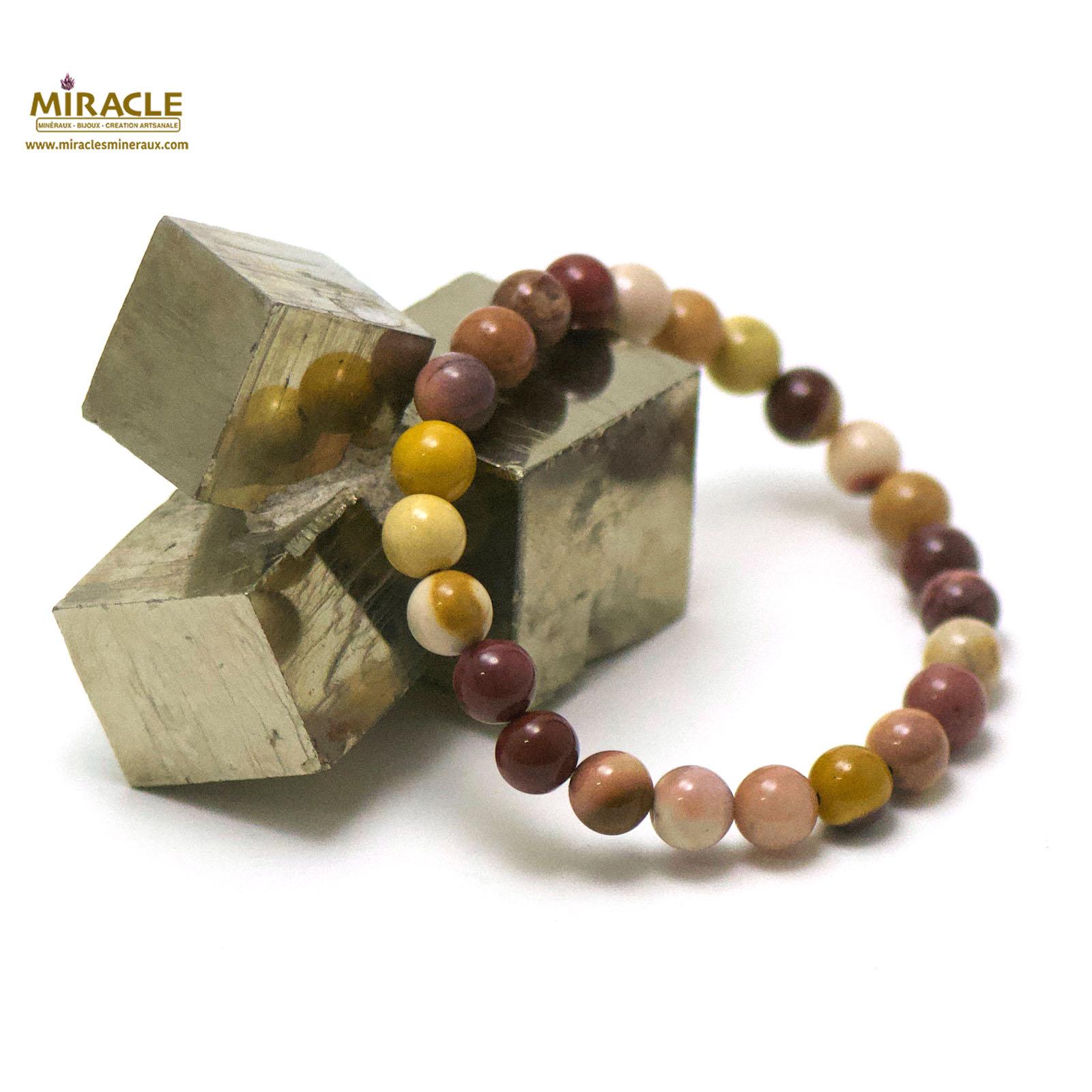 bracelet jaspe Mokaïte, perle ronde 8 mm
