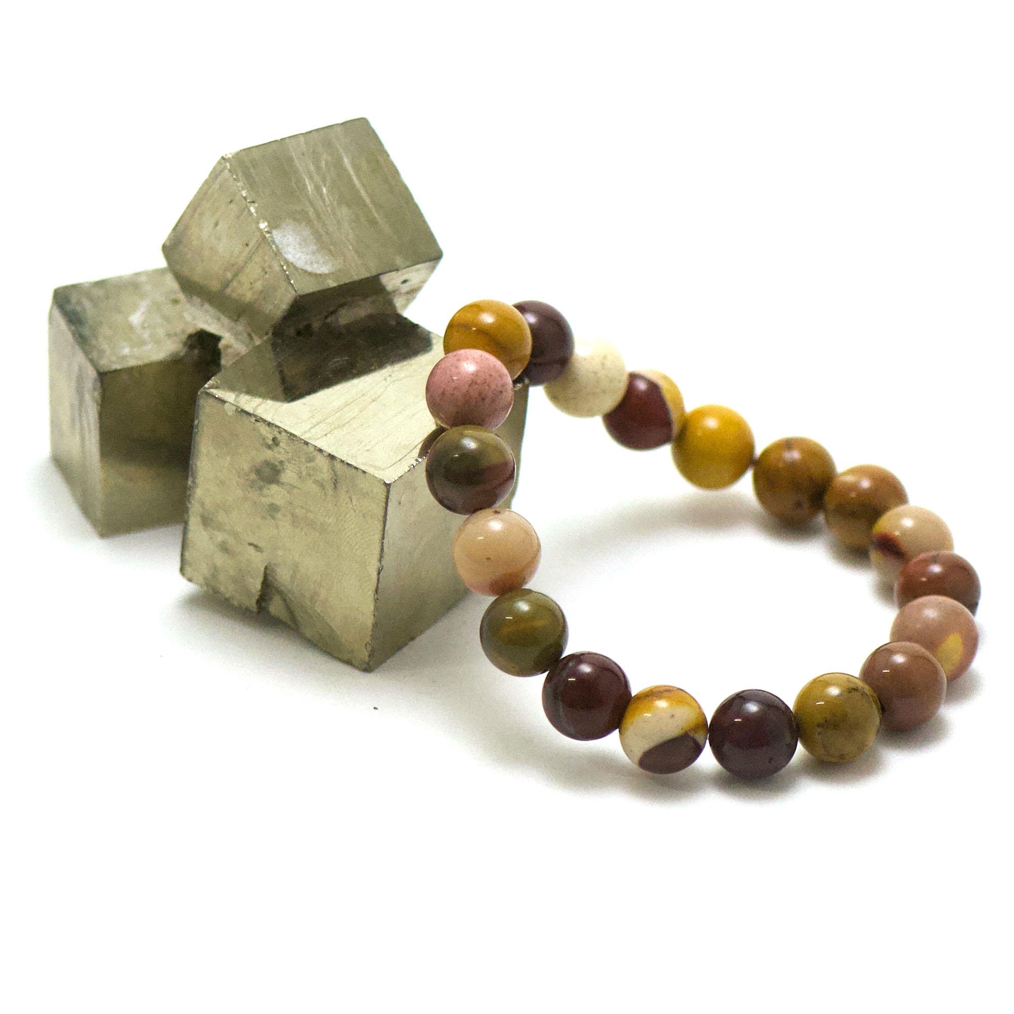 bracelet jaspe Mokaïte, perle ronde 10 mm