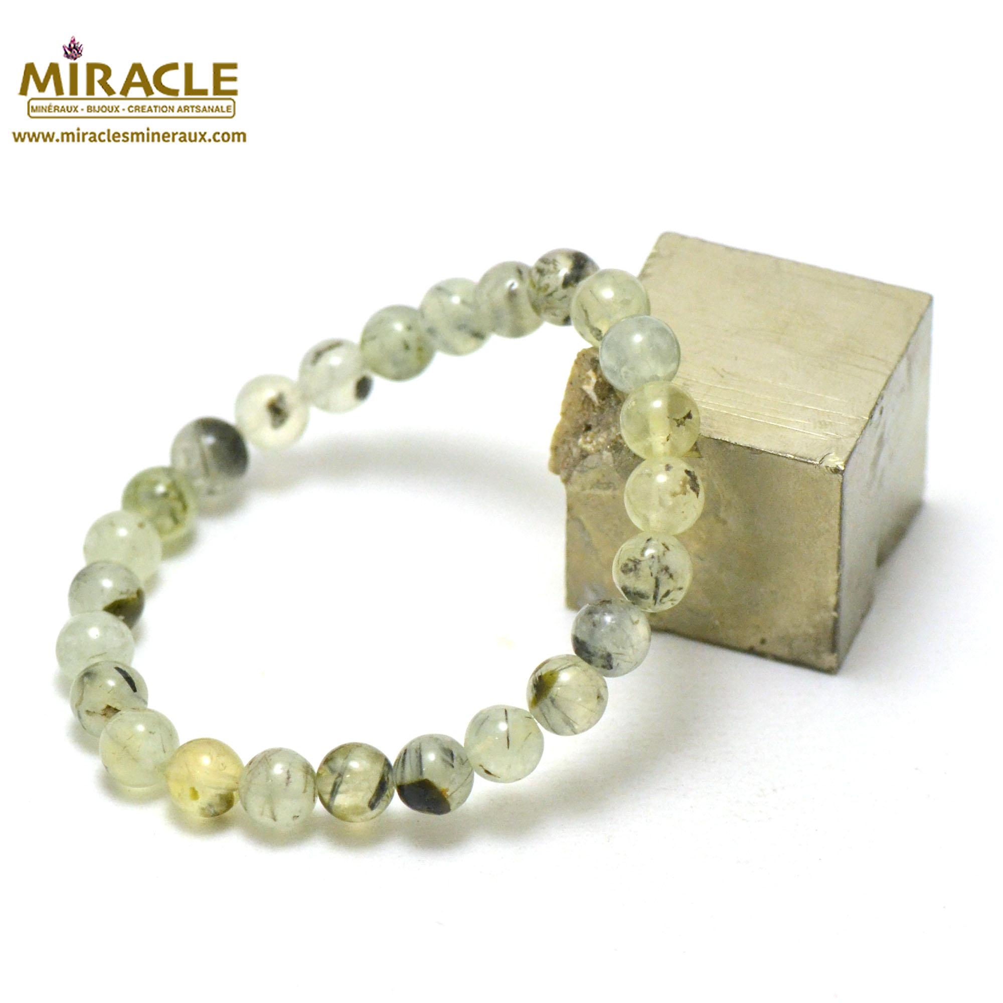 bracelet préhnite ronde 8 mm