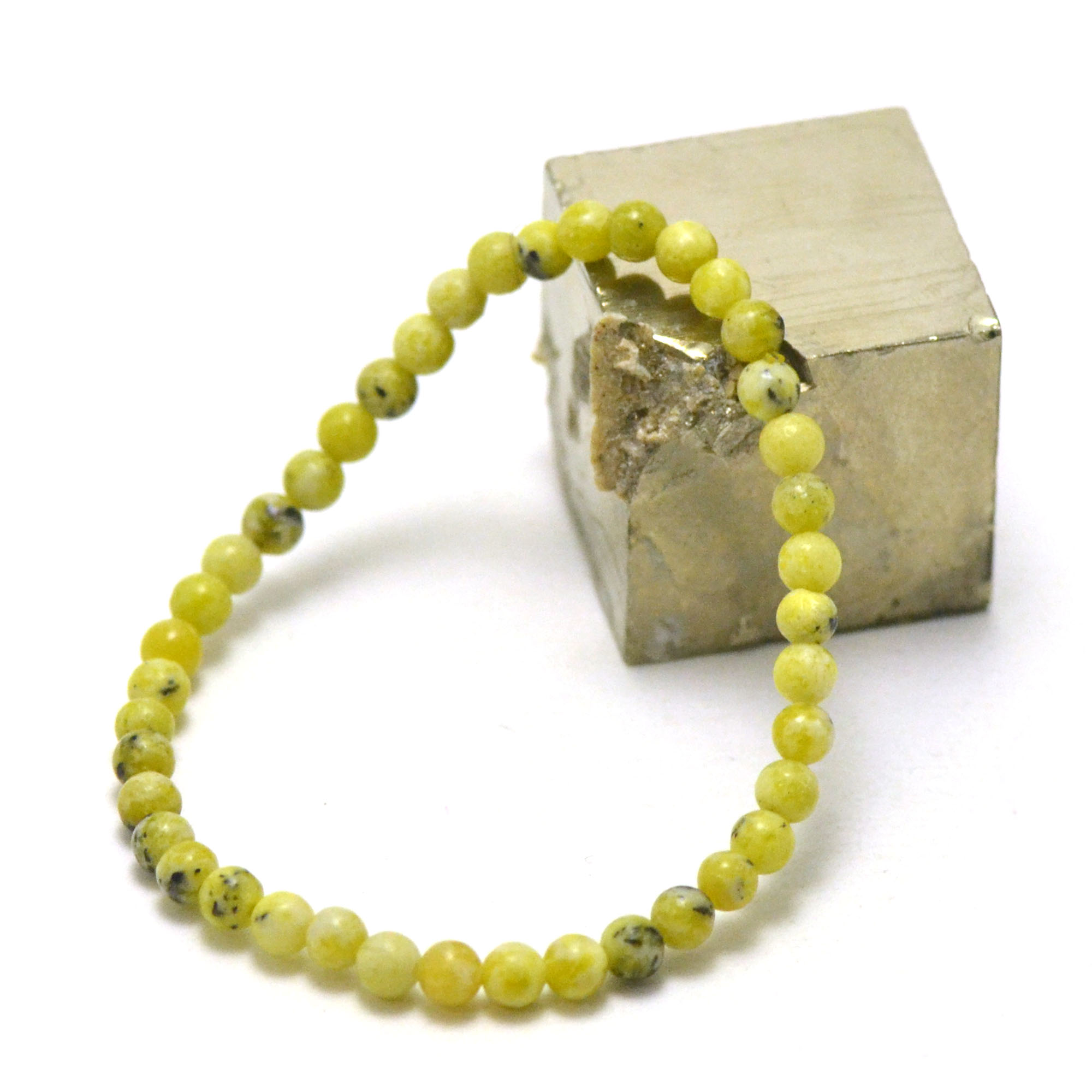 bracelet chrysoprase citron  ronde 4 mm, pierre naturelle