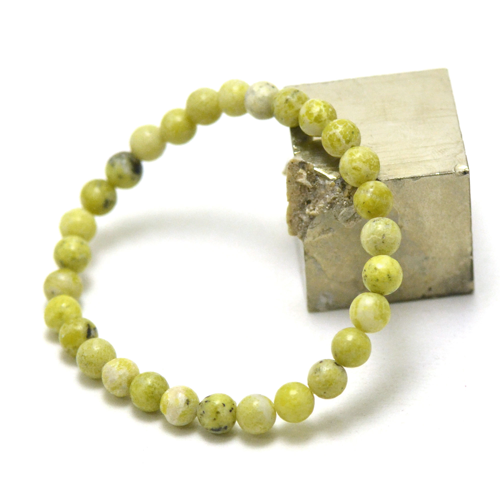 bracelet chrysoprase citron  ronde 6 mm, pierre naturelle