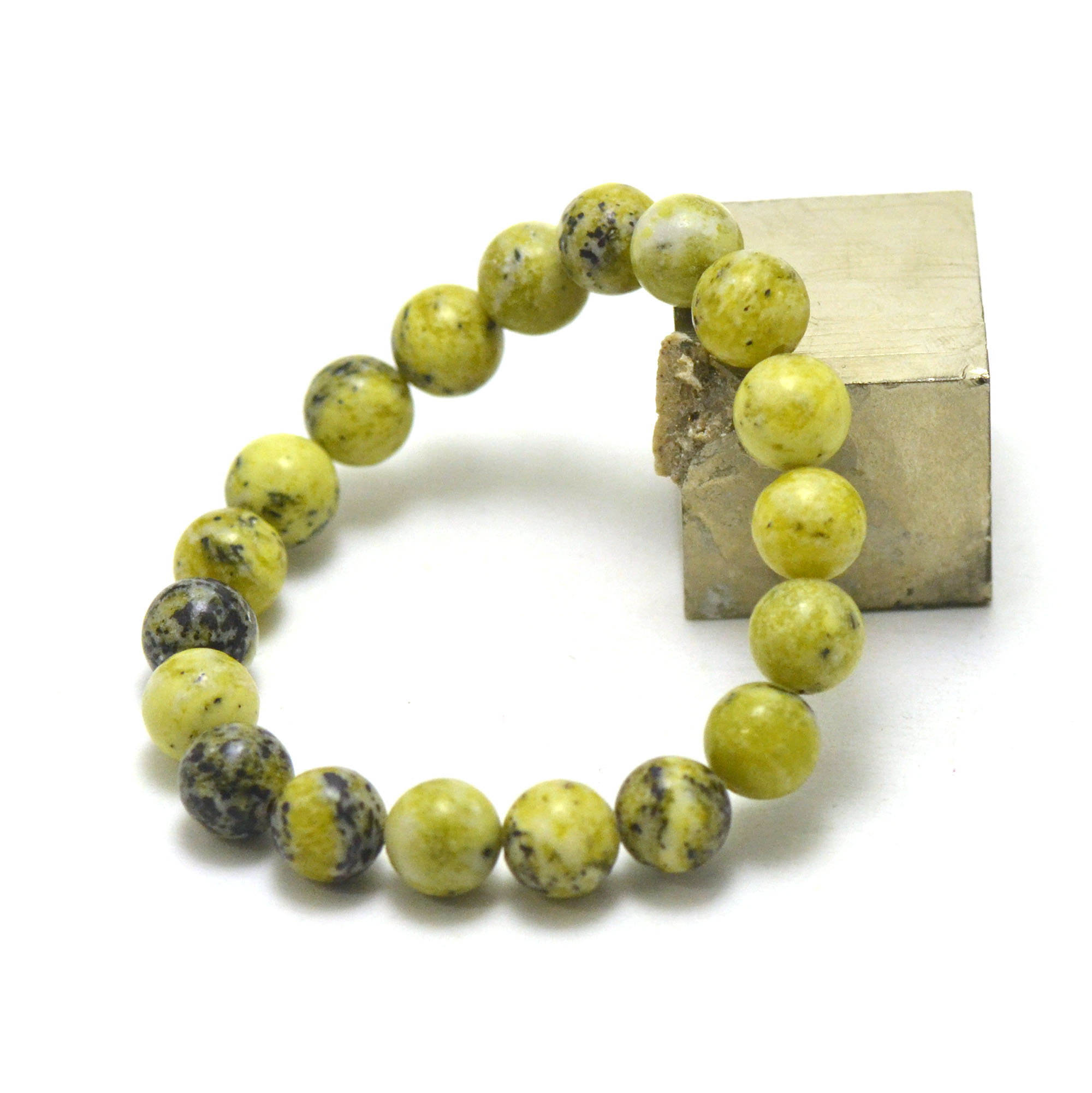 bracelet chrysoprase citron  ronde 10 mm , pierre naturelle