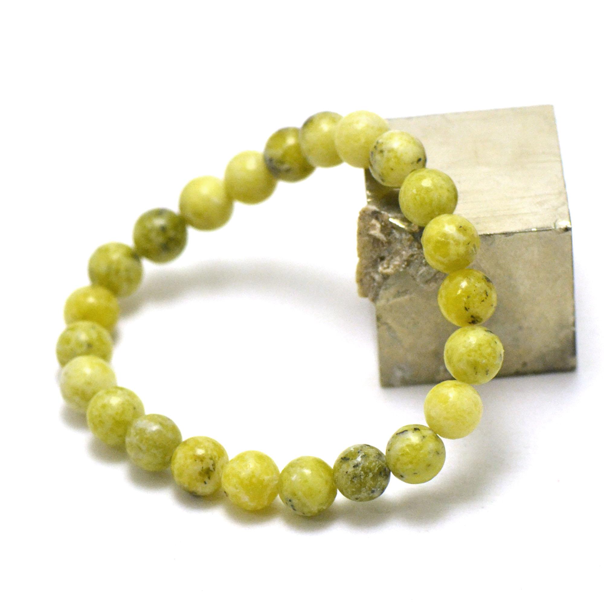 bracelet chrysoprase citron  ronde 8 mm