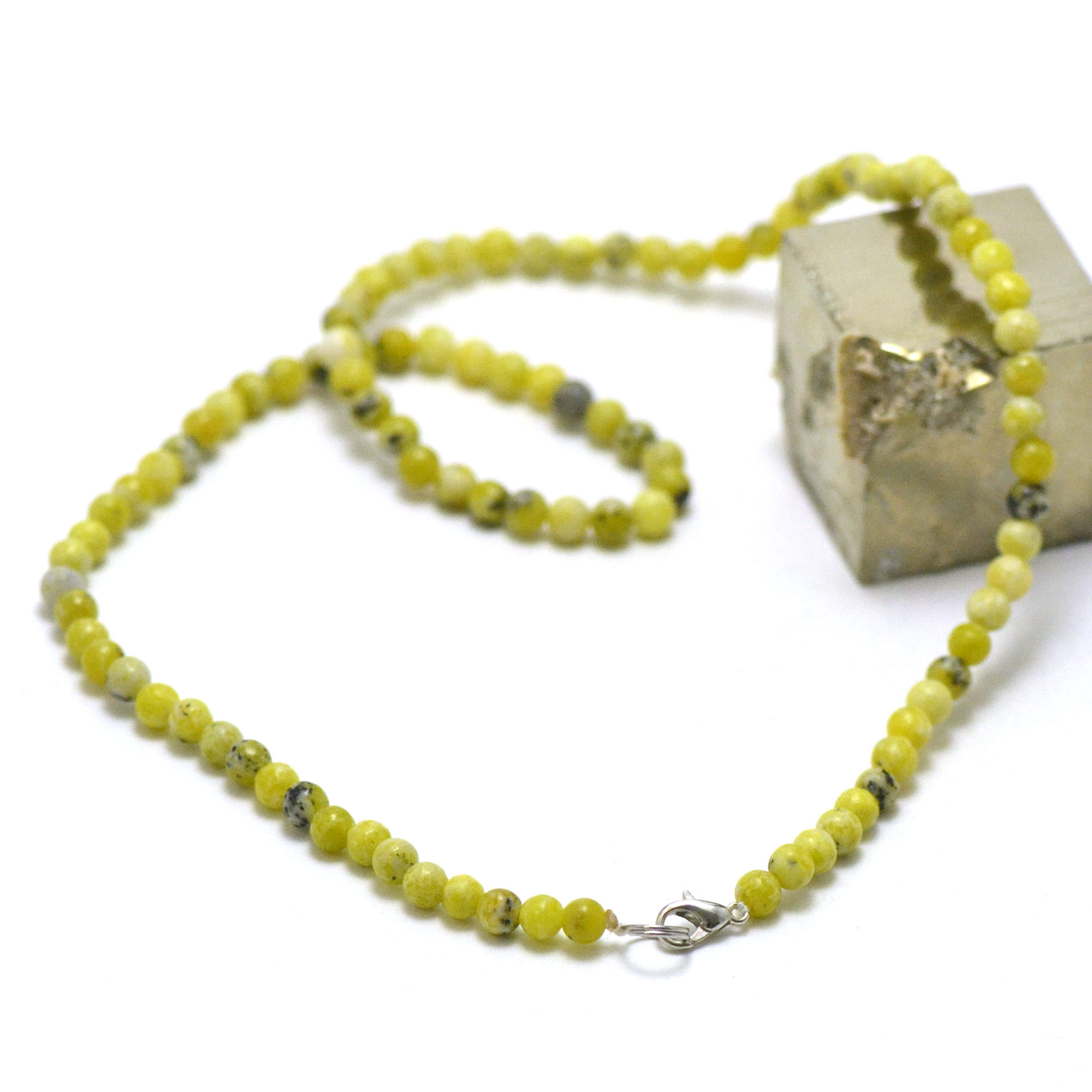 collier chrysoprase citron ronde 4 mm , pierre naturelle