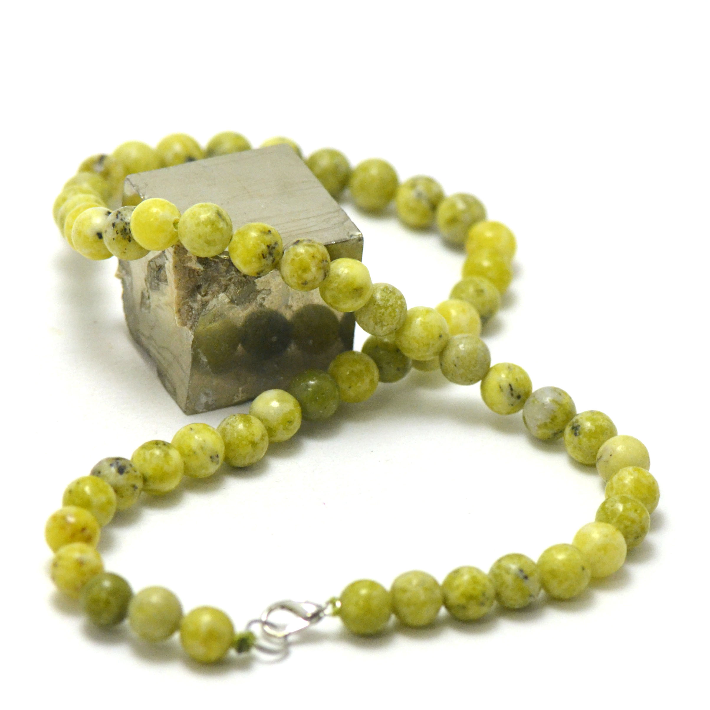 collier chrysoprase citron, perle ronde 8 mm