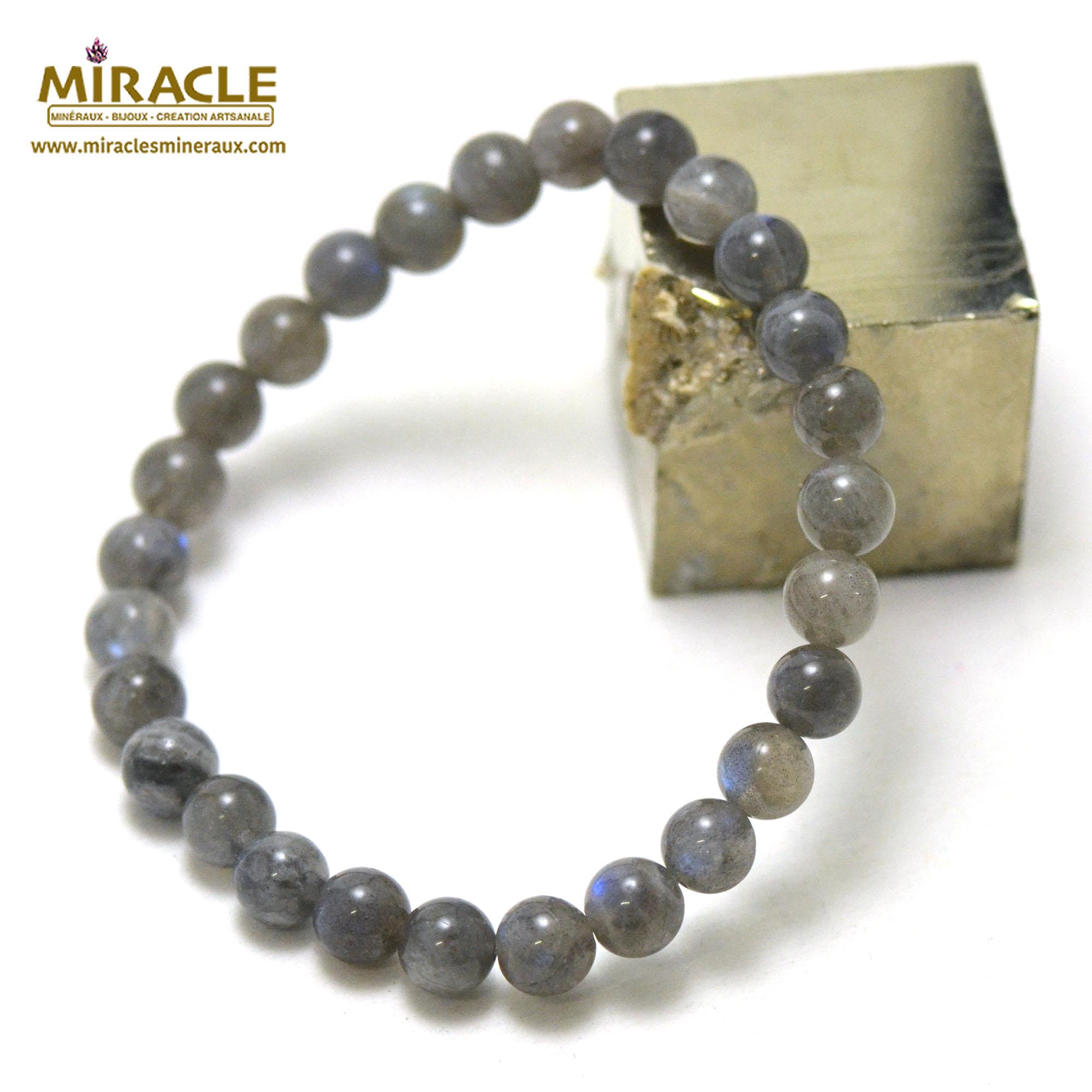 bracelet labradorite, perle ronde 6-7 mm AA