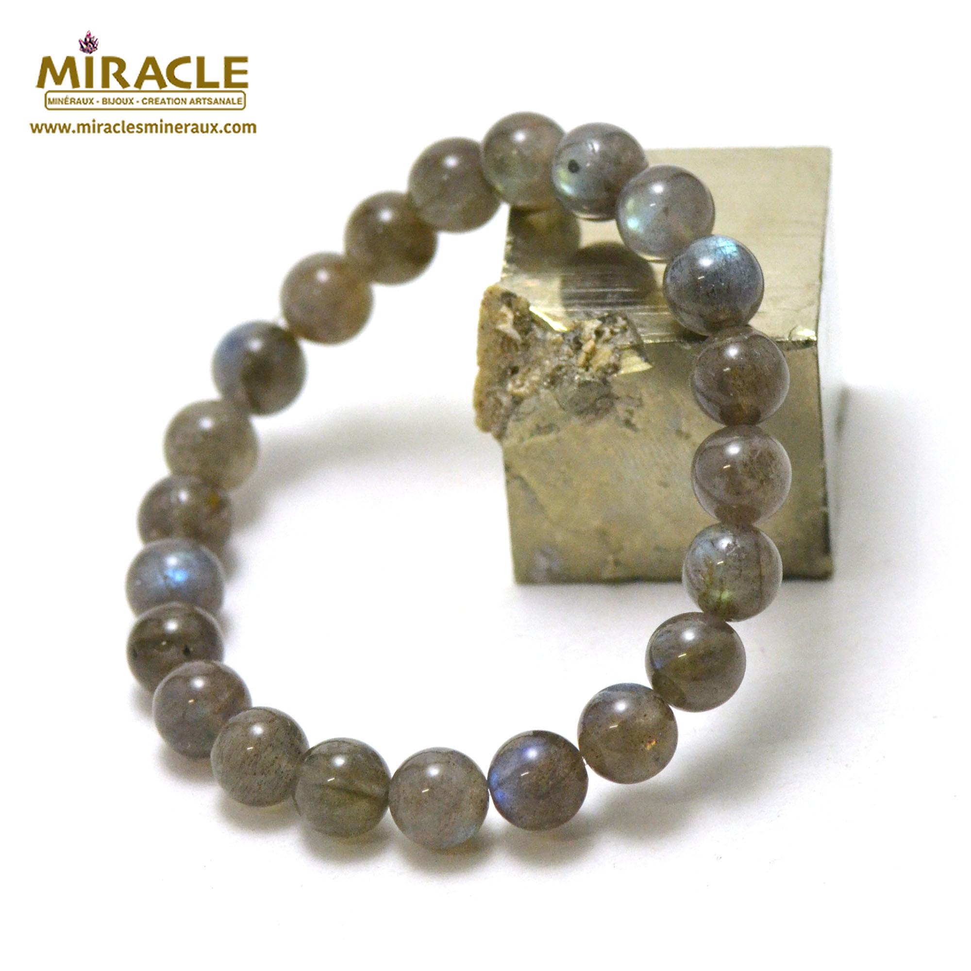 bracelet labradorite ,  perle ronde 8-9 mm AA