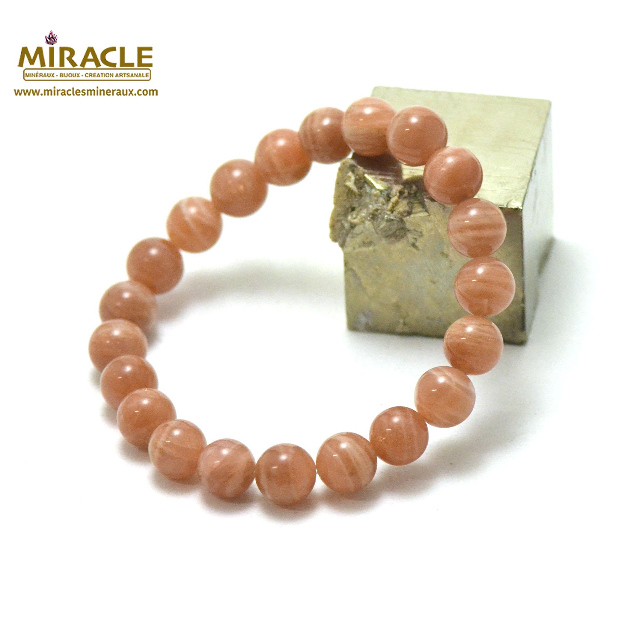 Bracelet pierre de soleil ronde 9-10 mm