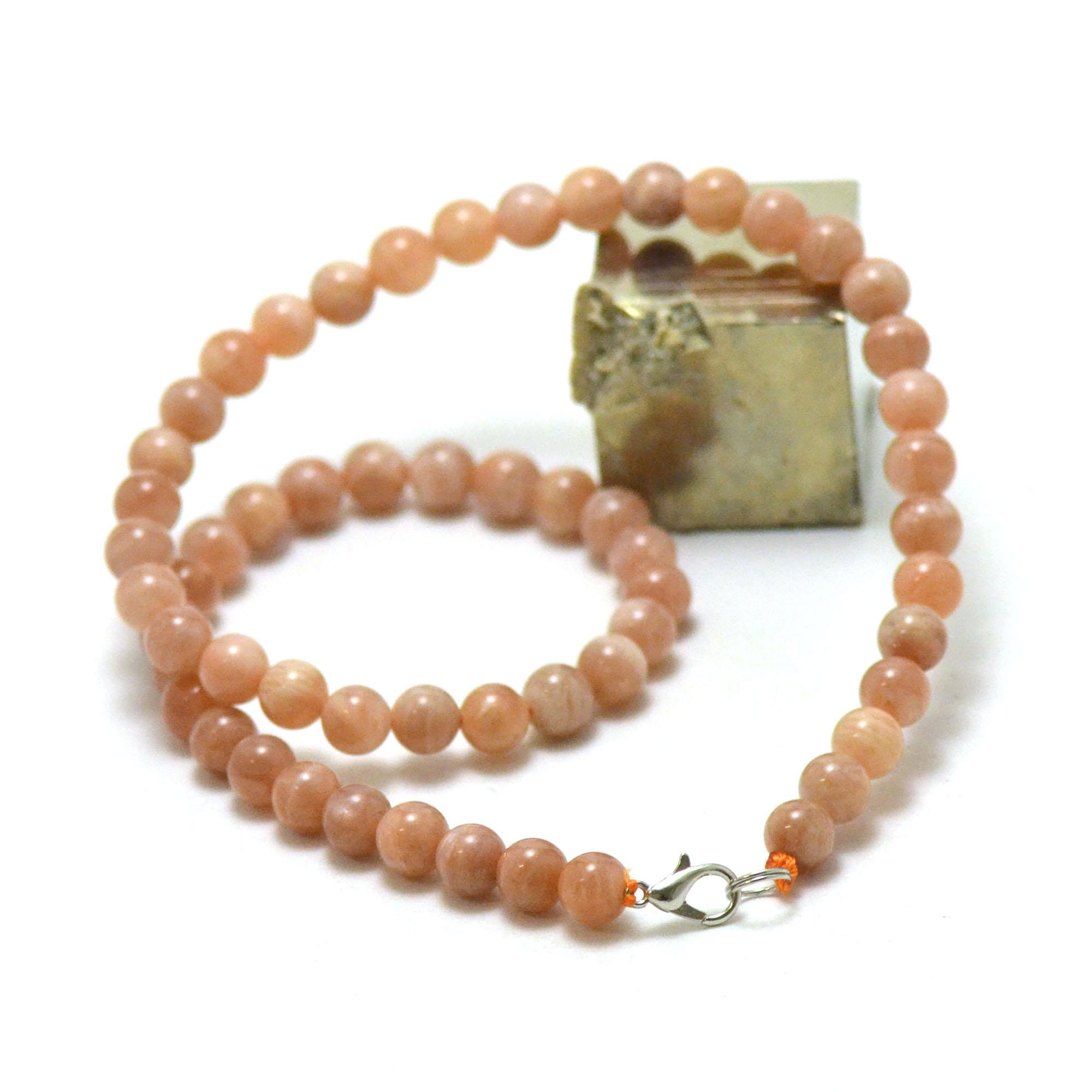 collier pierre de soleil véritable et naturelle ronde 7-8 mm