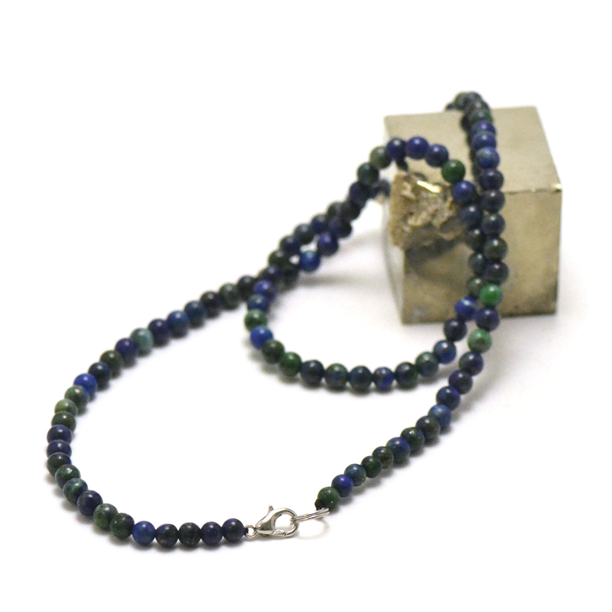 collier azurite-malachite perle ronde 4 mm