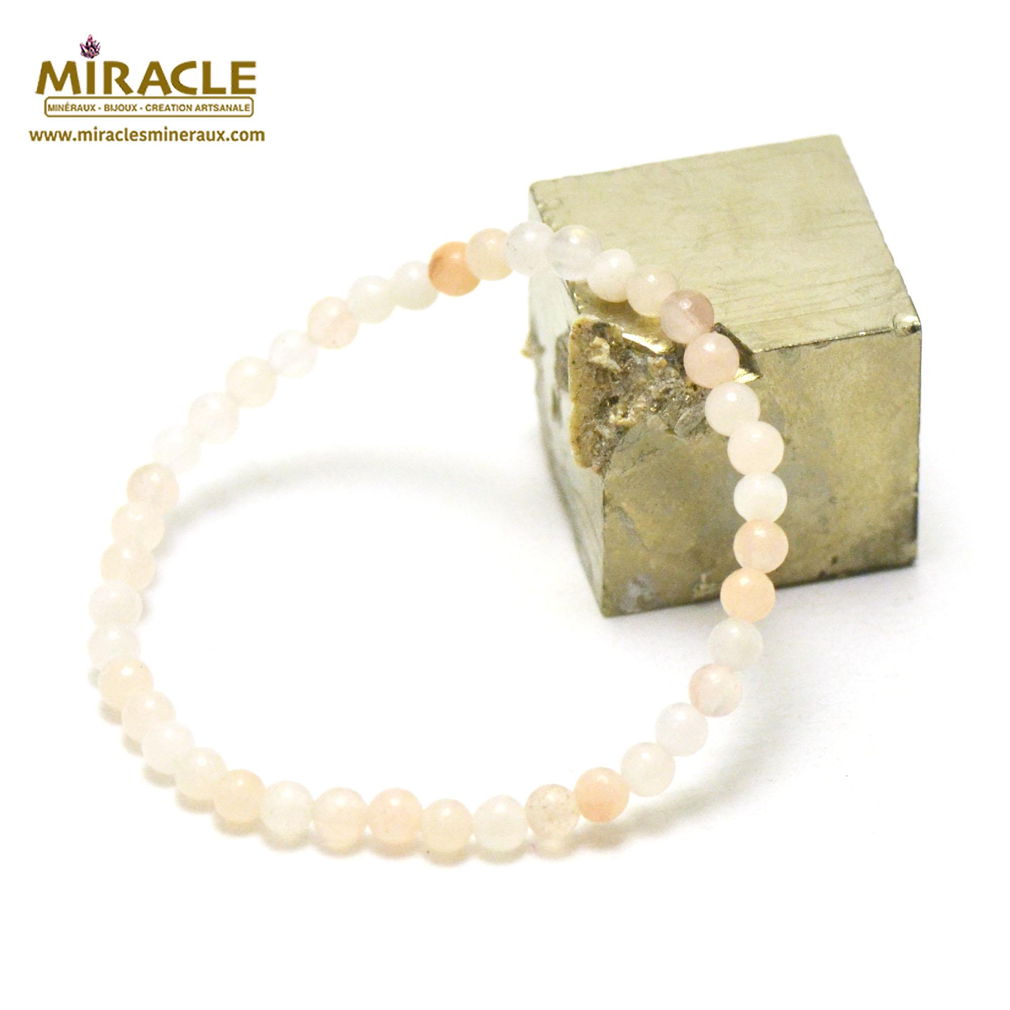 bracelet aventurine rose perle ronde 4 mm
