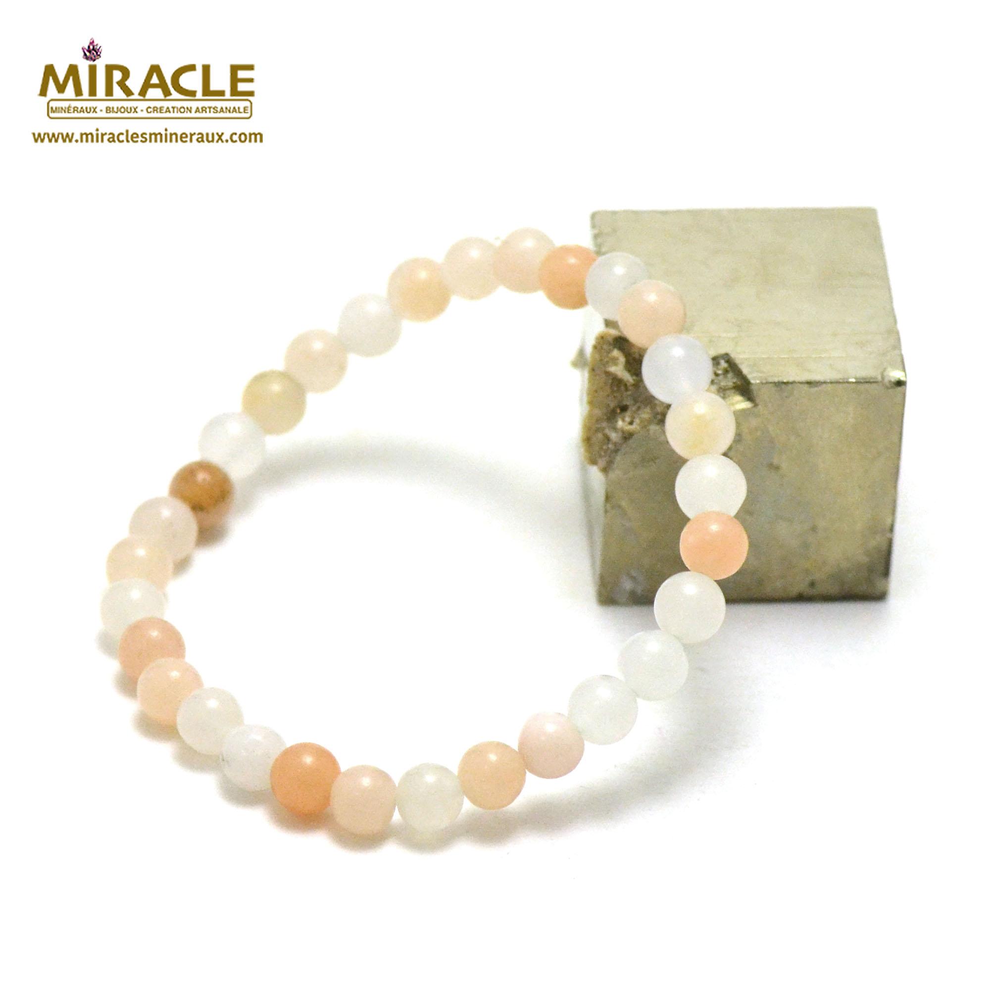 bracelet aventurine rose perle ronde 6 mm