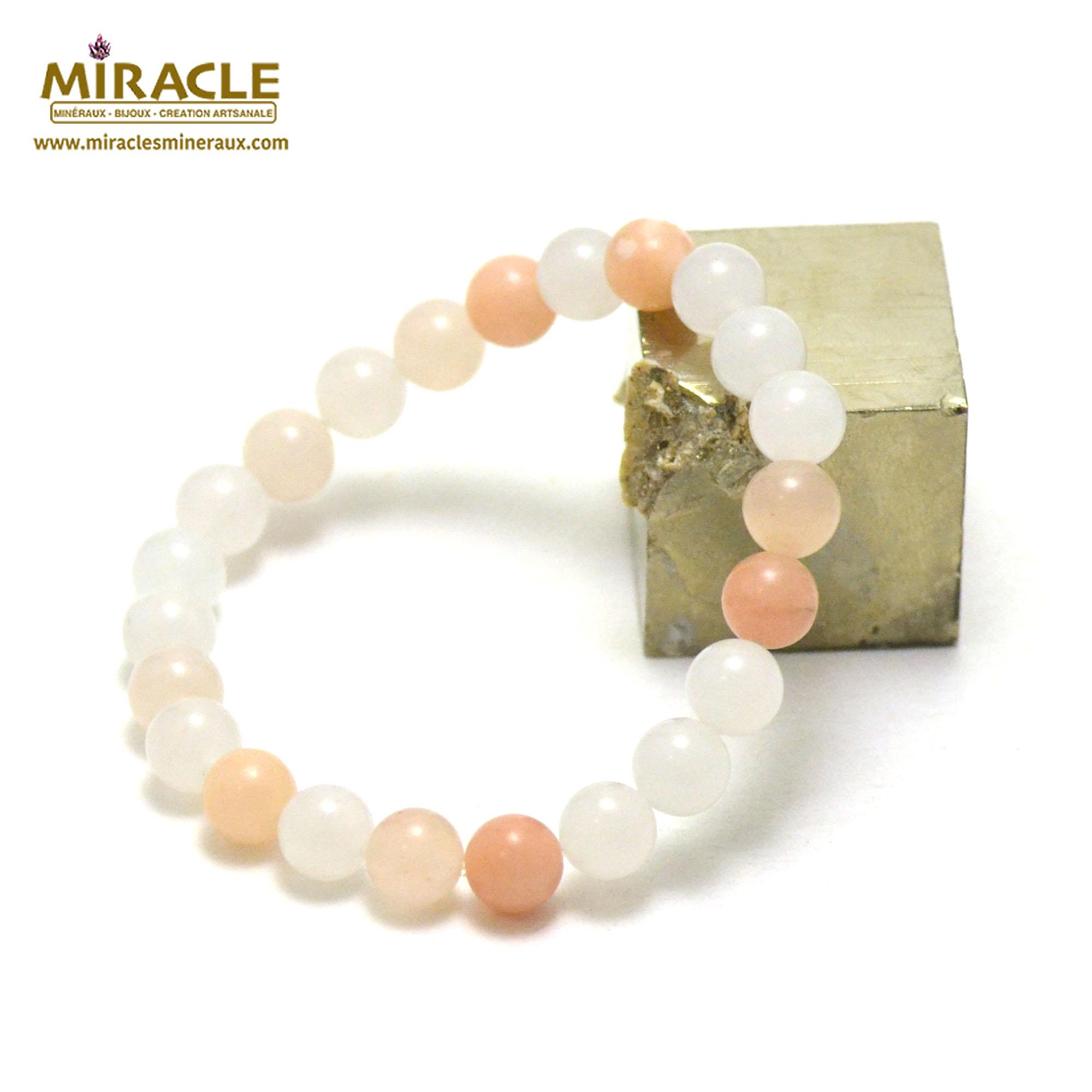 bracelet aventurine rose perle ronde 8 mm