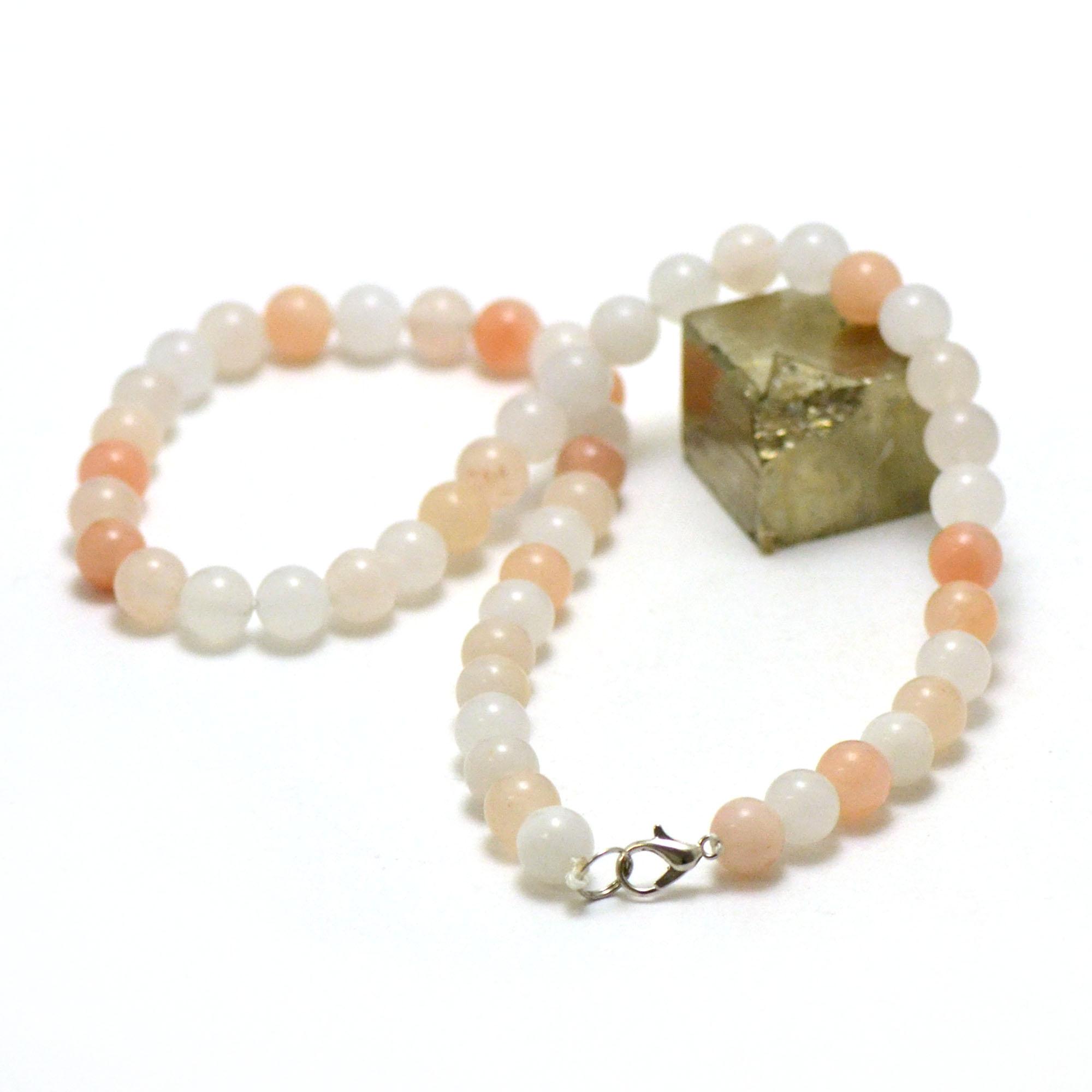 collier aventurine rose perle ronde 8 mm
