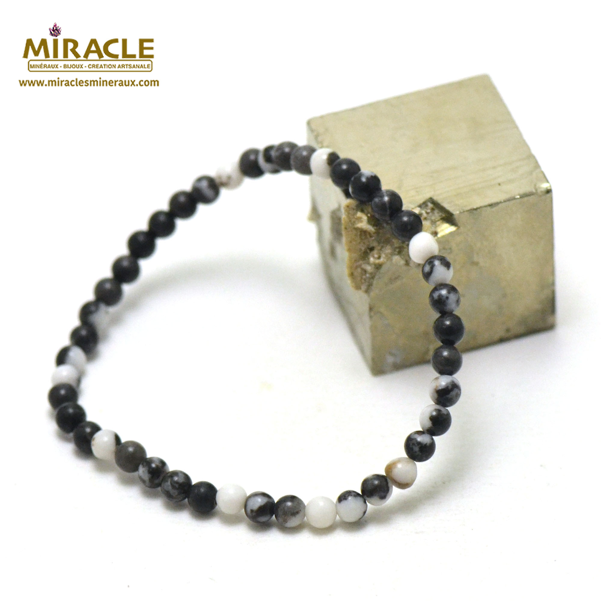 Bracelet jaspe zèbre perles rondes 4 mm