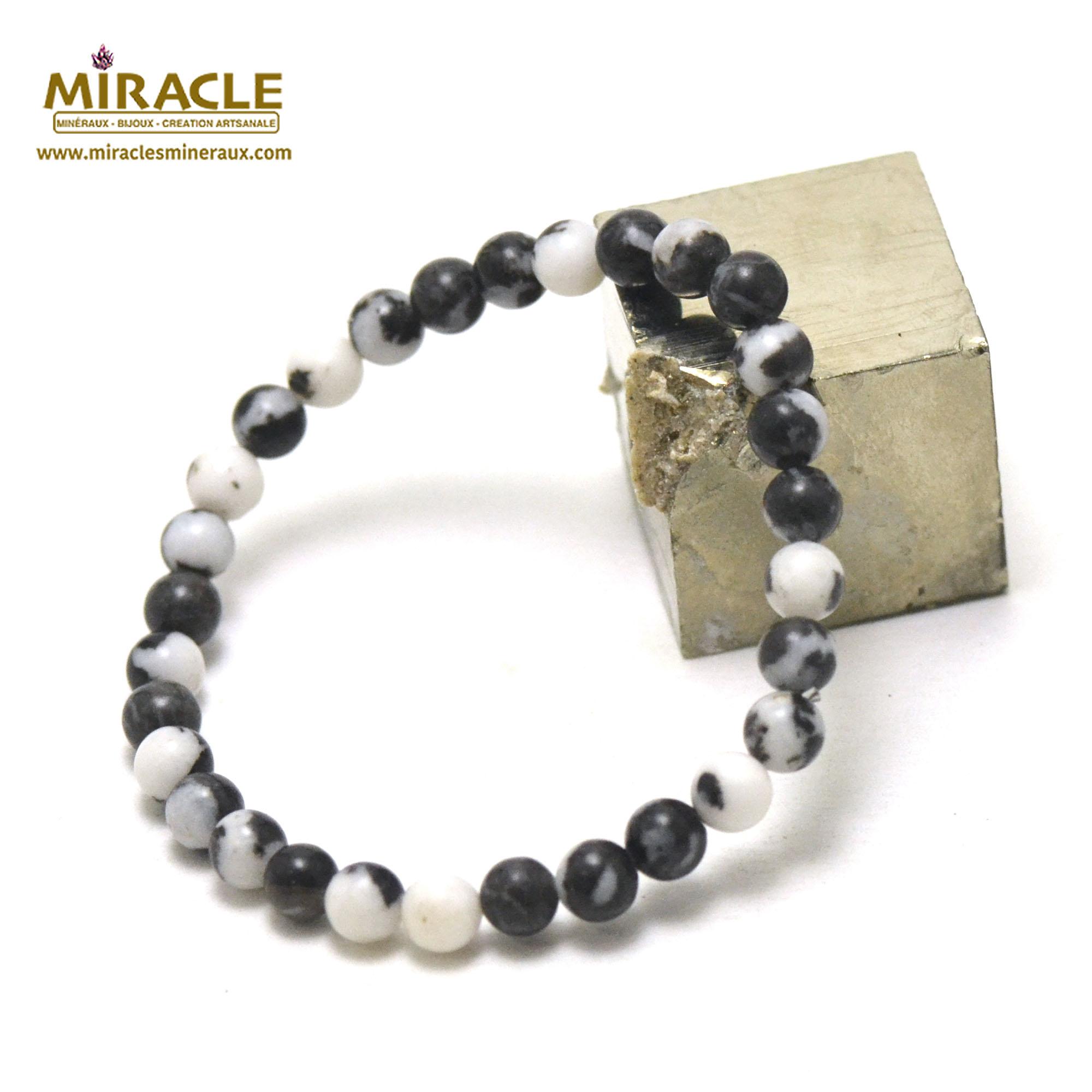 Bracelet jaspe zèbre perles rondes 6 mm