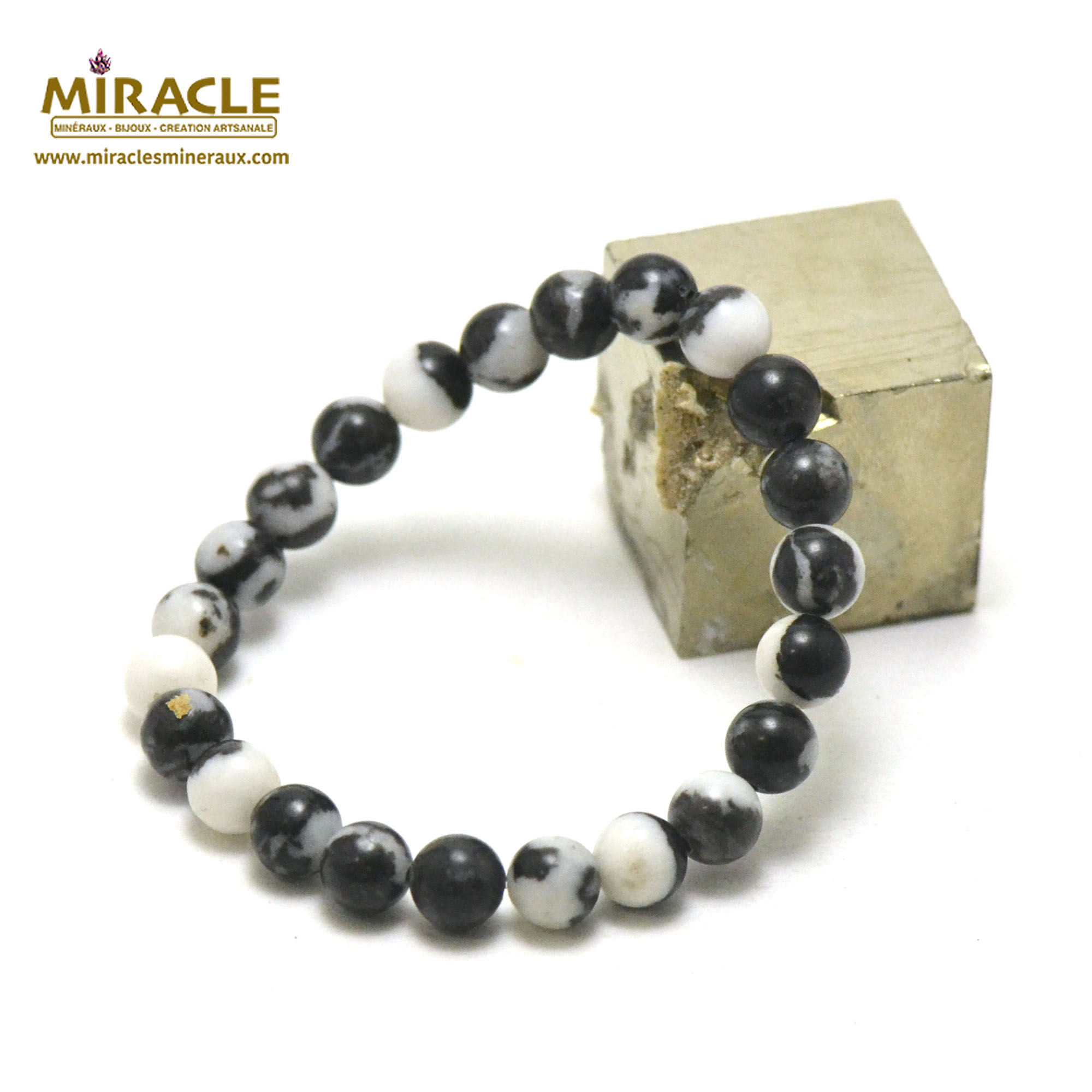 Bracelet jaspe zèbre perles rondes 8 mm