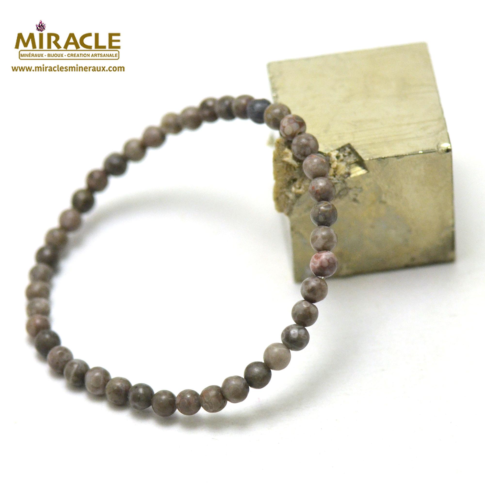 Bracelet agate fossile ou turitelle, perles rond 4 mm