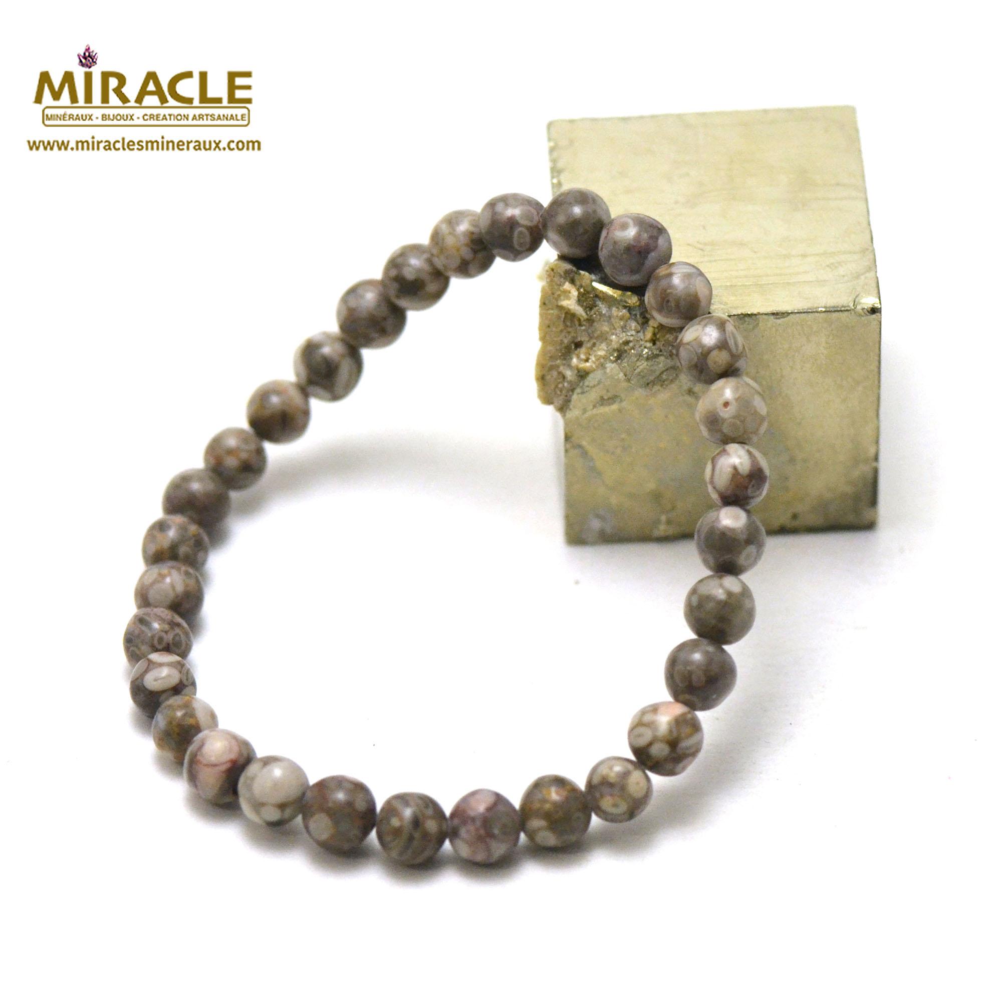 Bracelet agate fossile ou turitelle, perles rond 6 mm