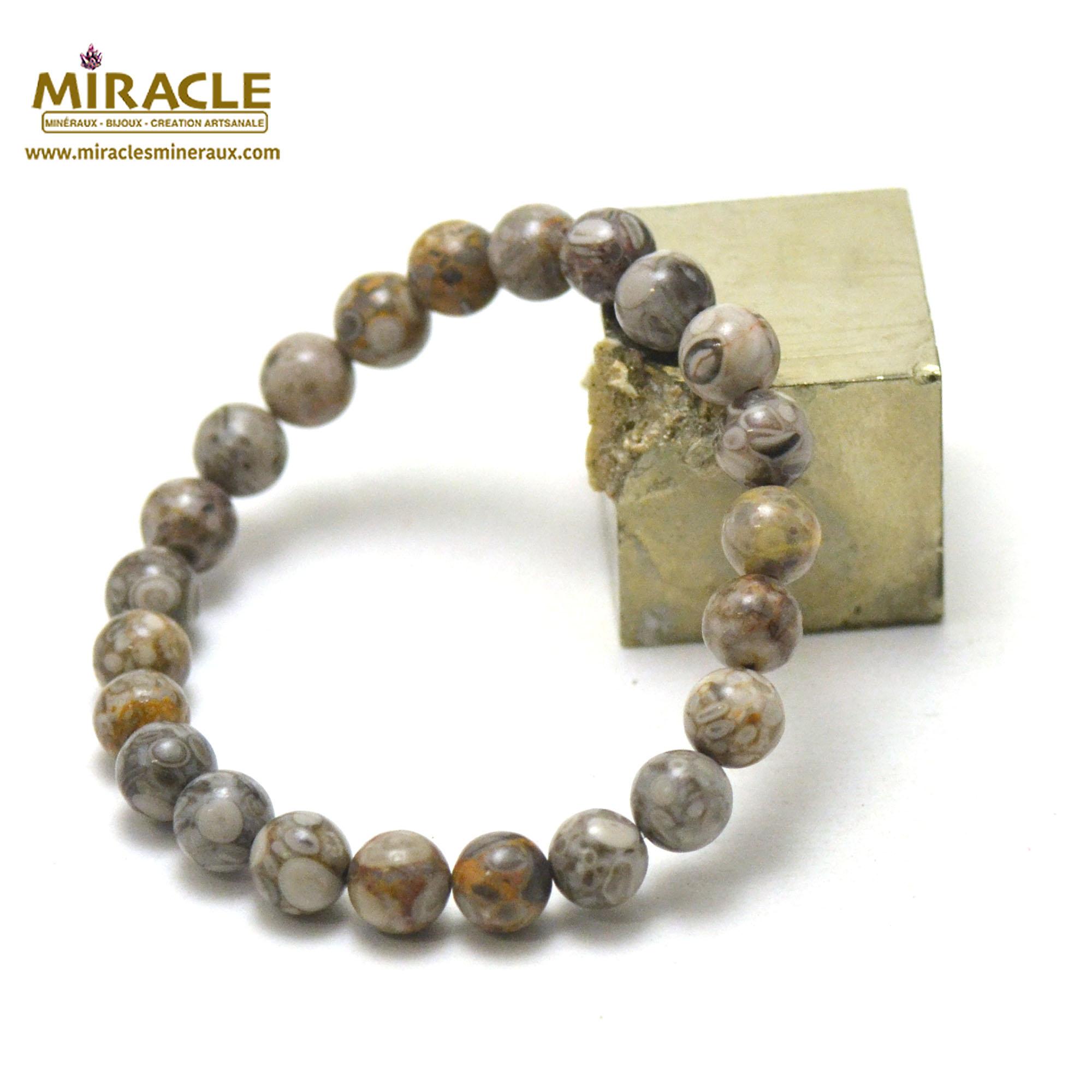 Bracelet agate fossile ou turitelle, perles rond 8 mm