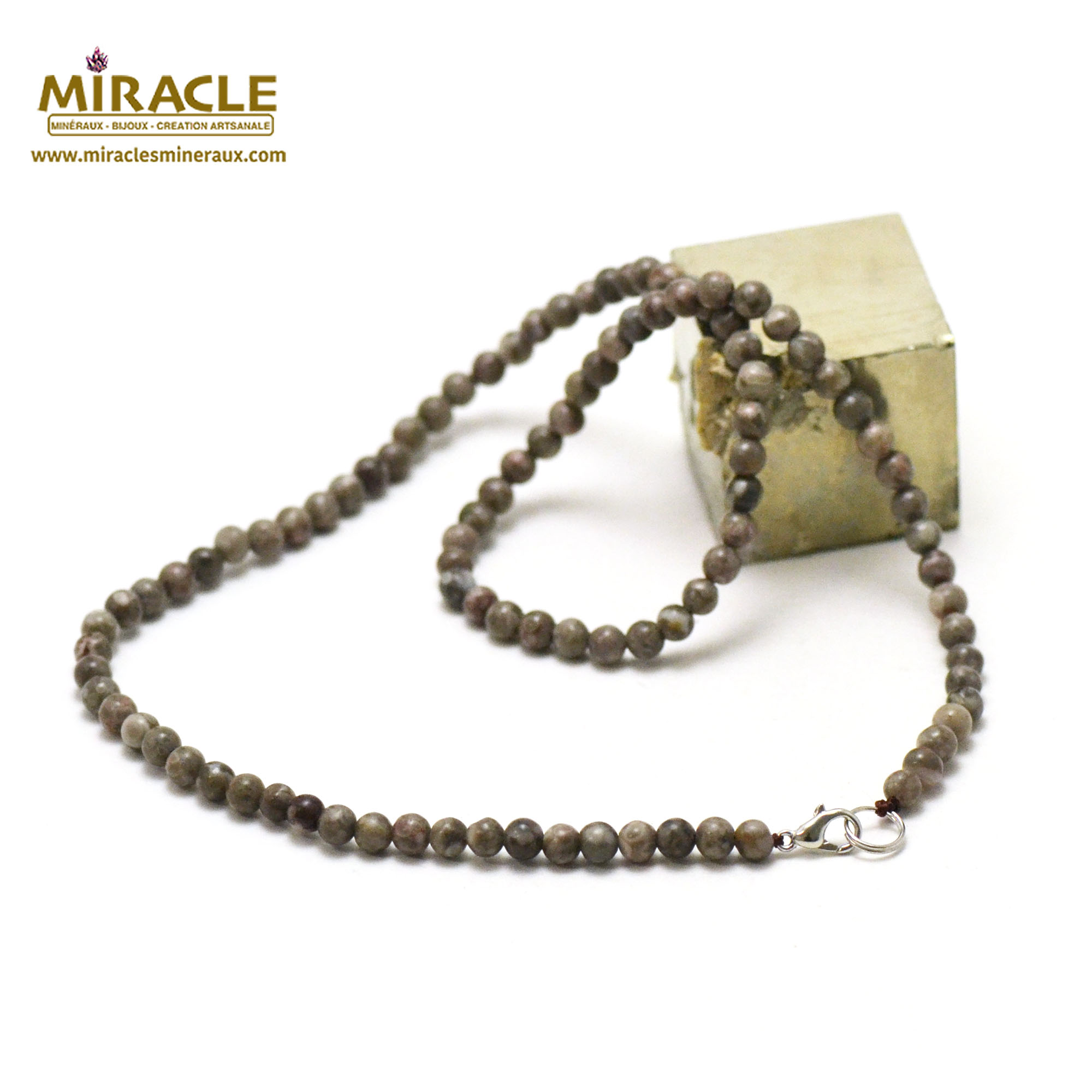 collier agate fossile perle ronde 4 mm