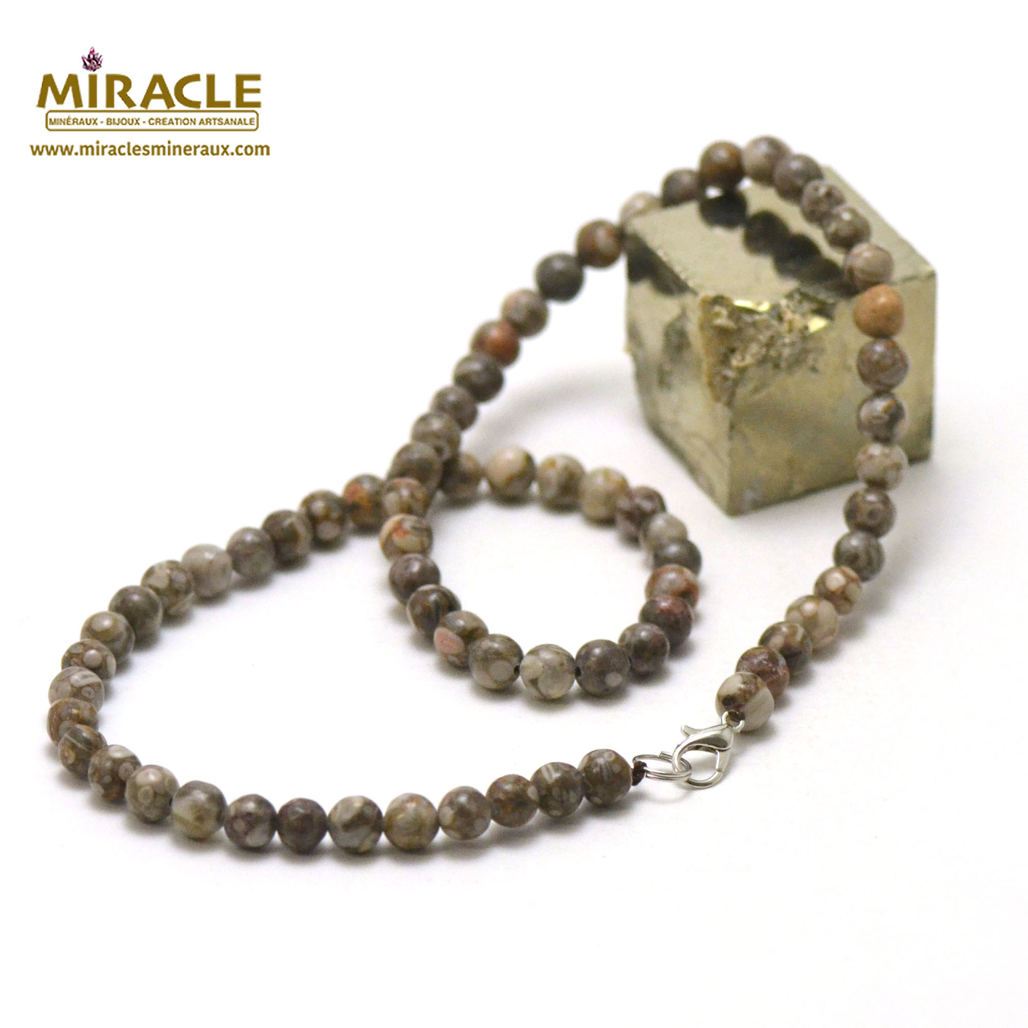 collier agate fossile perle ronde 6 mm