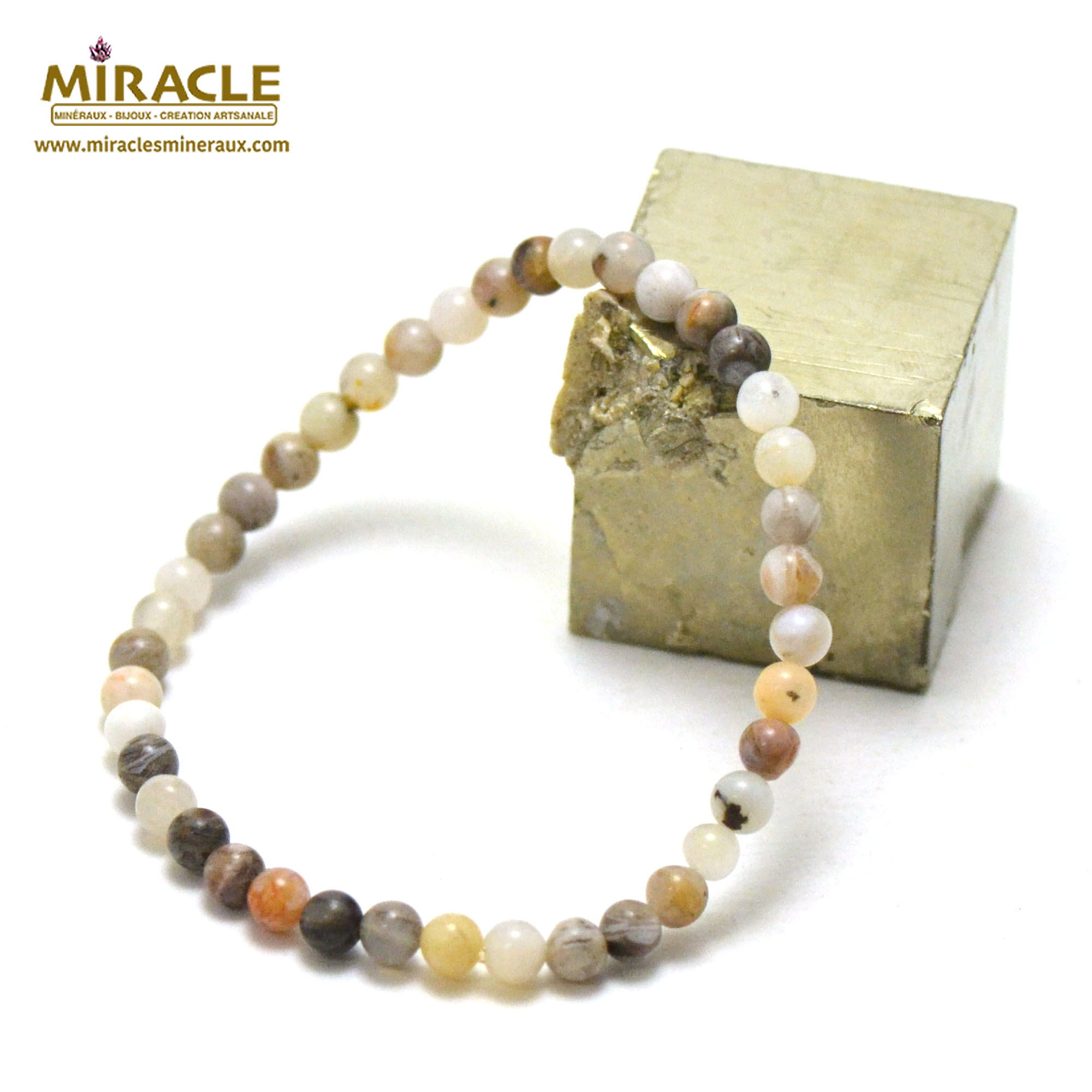 Bracelet agate bambou, perles rond 4 mm