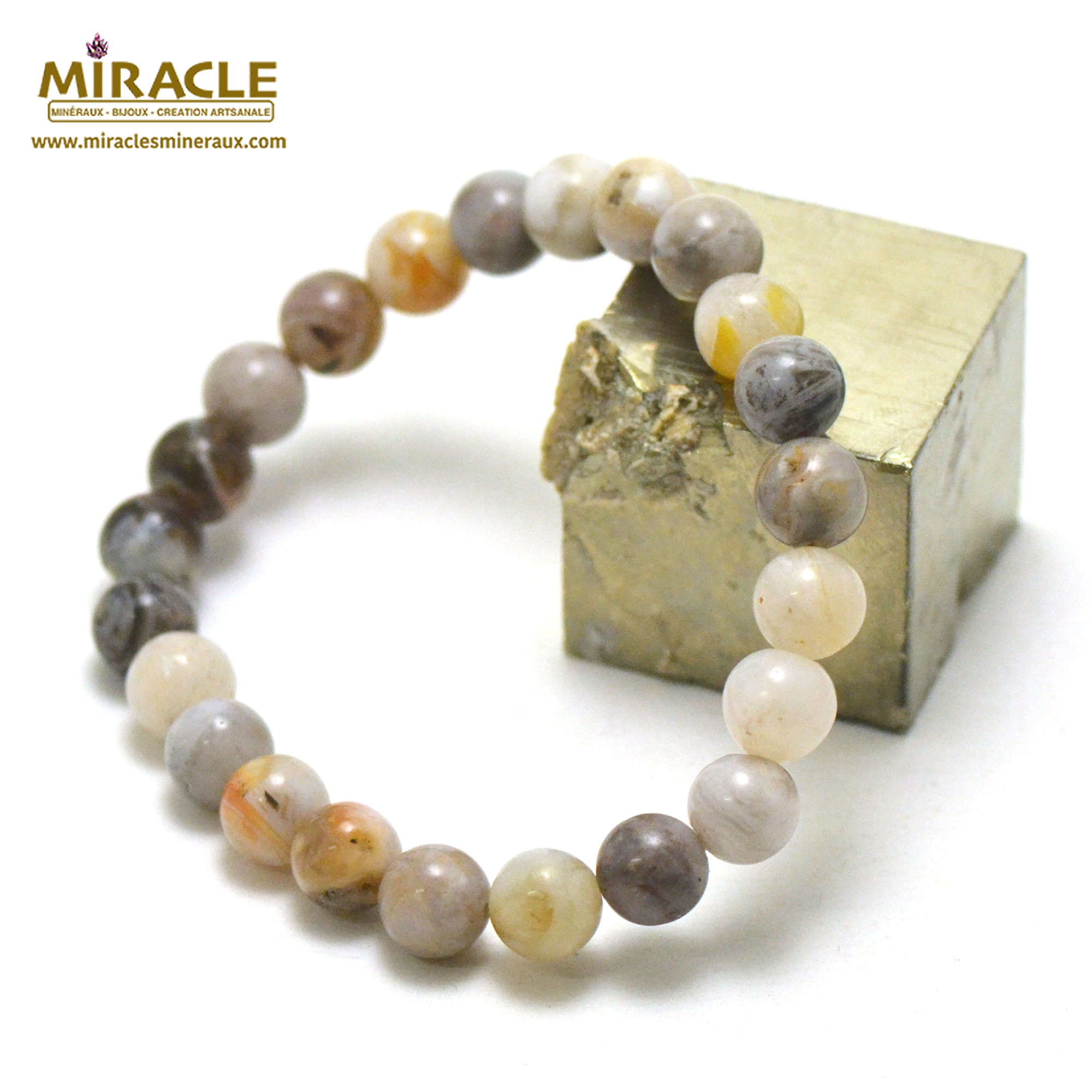 Bracelet agate bambou, perles rond 8 mm