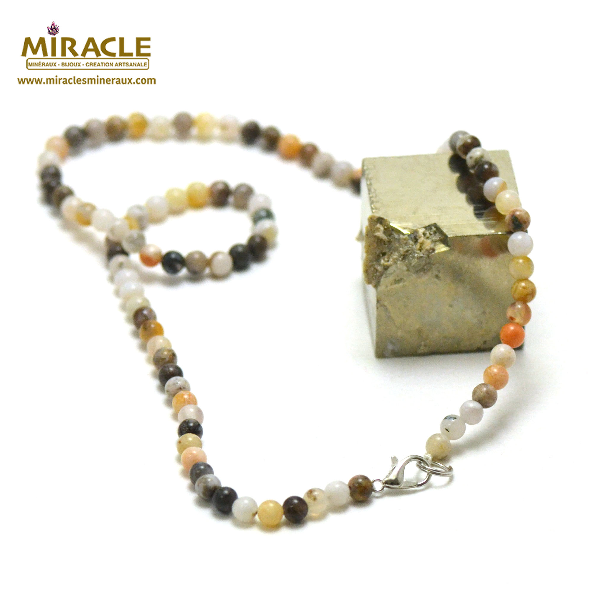 collier agate bambou perle ronde 4 mm